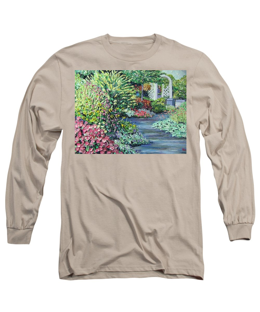 Garden Long Sleeve T-Shirt featuring the painting Amelia Park Pathway by Richard Nowak