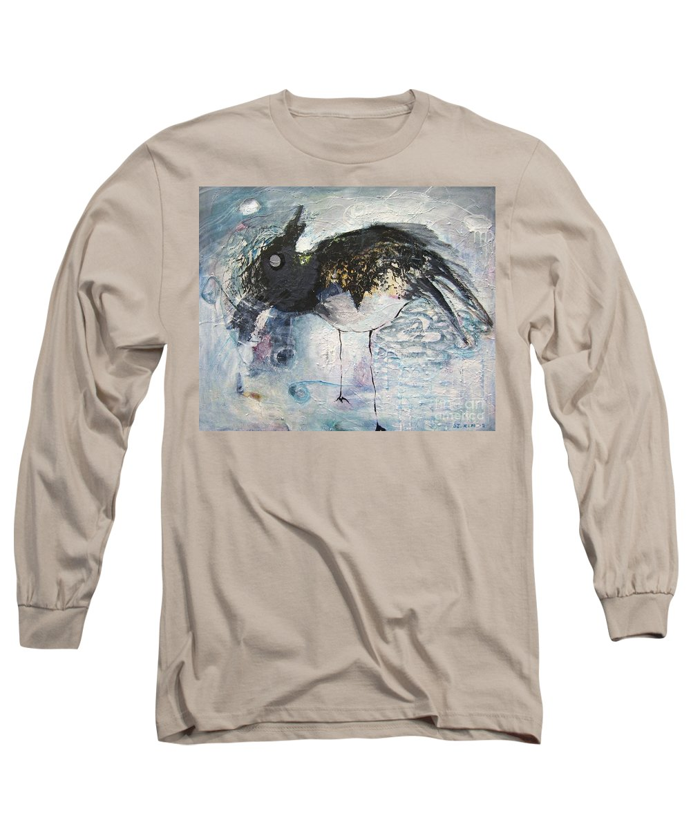 Robin Painting Long Sleeve T-Shirt featuring the painting Baby Robin by Seon-Jeong Kim