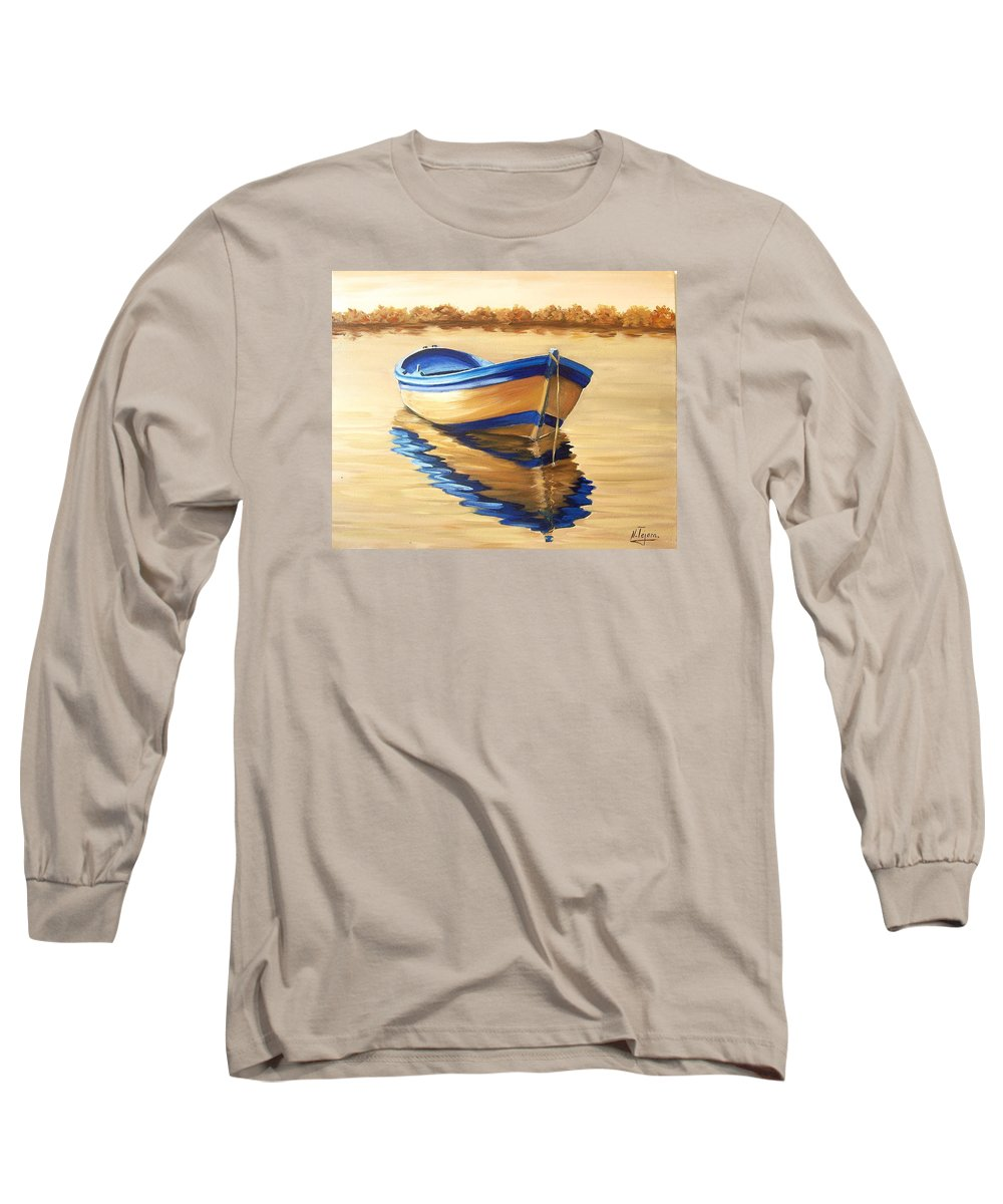 Still Life Long Sleeve T-Shirt featuring the painting Lake by Natalia Tejera