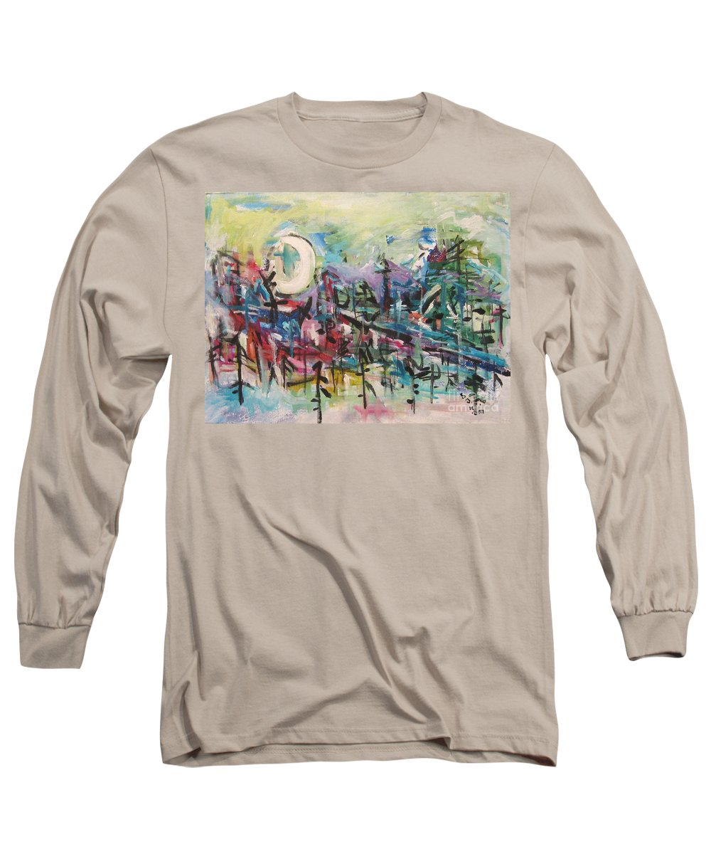 Abstract Paintings Long Sleeve T-Shirt featuring the painting Bummer Flat2 by Seon-Jeong Kim