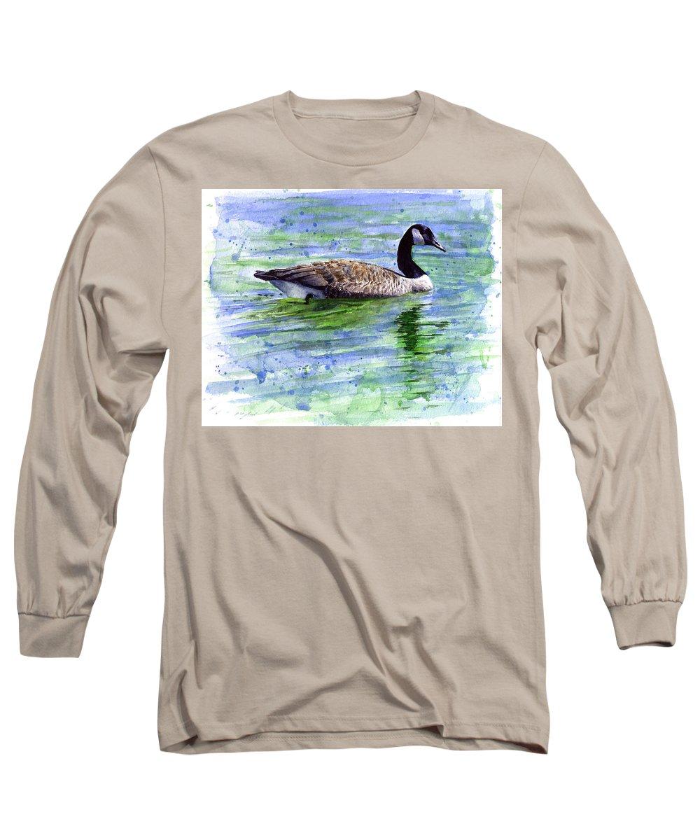 Bird Long Sleeve T-Shirt featuring the painting Canada Goose by John D Benson
