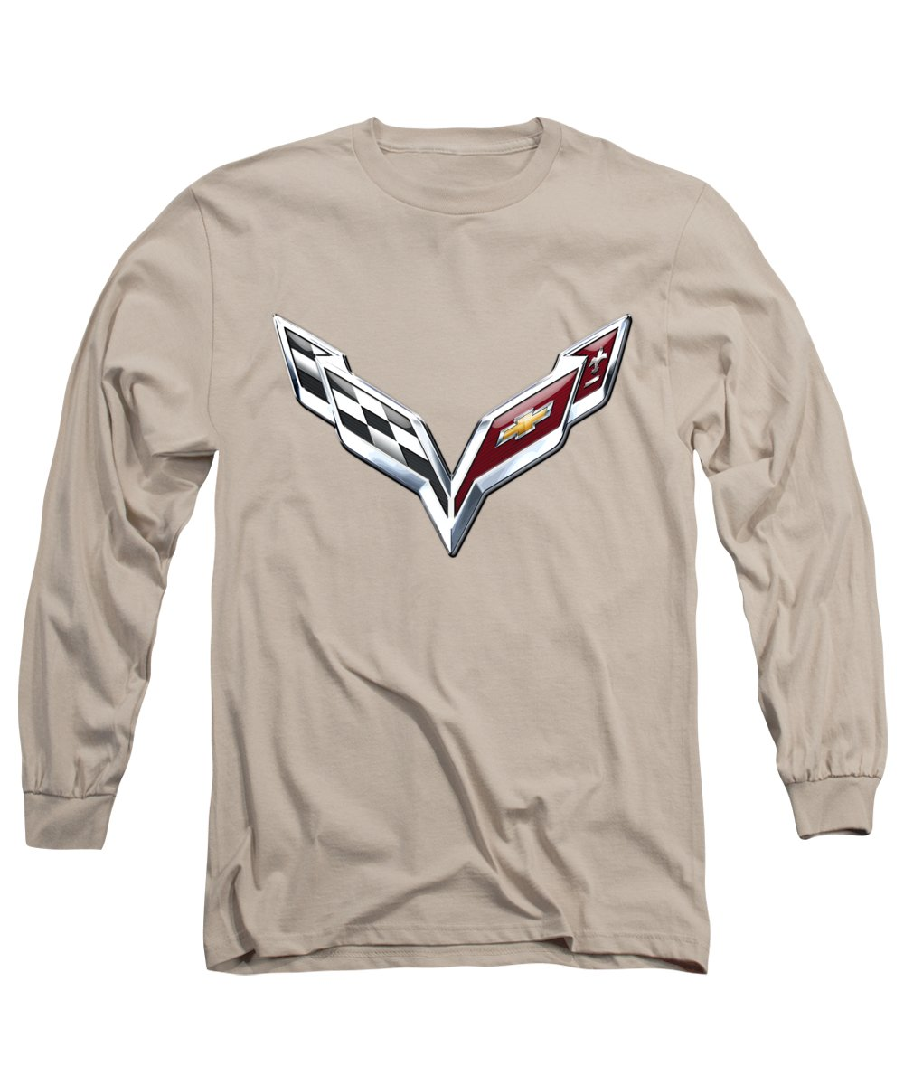�wheels Of Fortune� Collection By Serge Averbukh Long Sleeve T-Shirt featuring the photograph Chevrolet Corvette 3D Badge on Yellow by Serge Averbukh