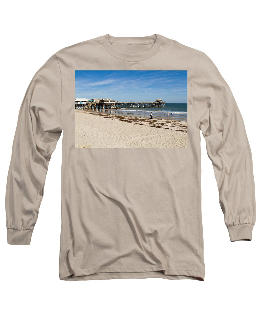 Florida; Cocoa; Beach; Atlantic; Ocean; East; Space; Coast; Brevard; Central; Pier; Surf; Surfing; F Long Sleeve T-Shirt featuring the photograph Cocoa Beach In Florida by Allan Hughes