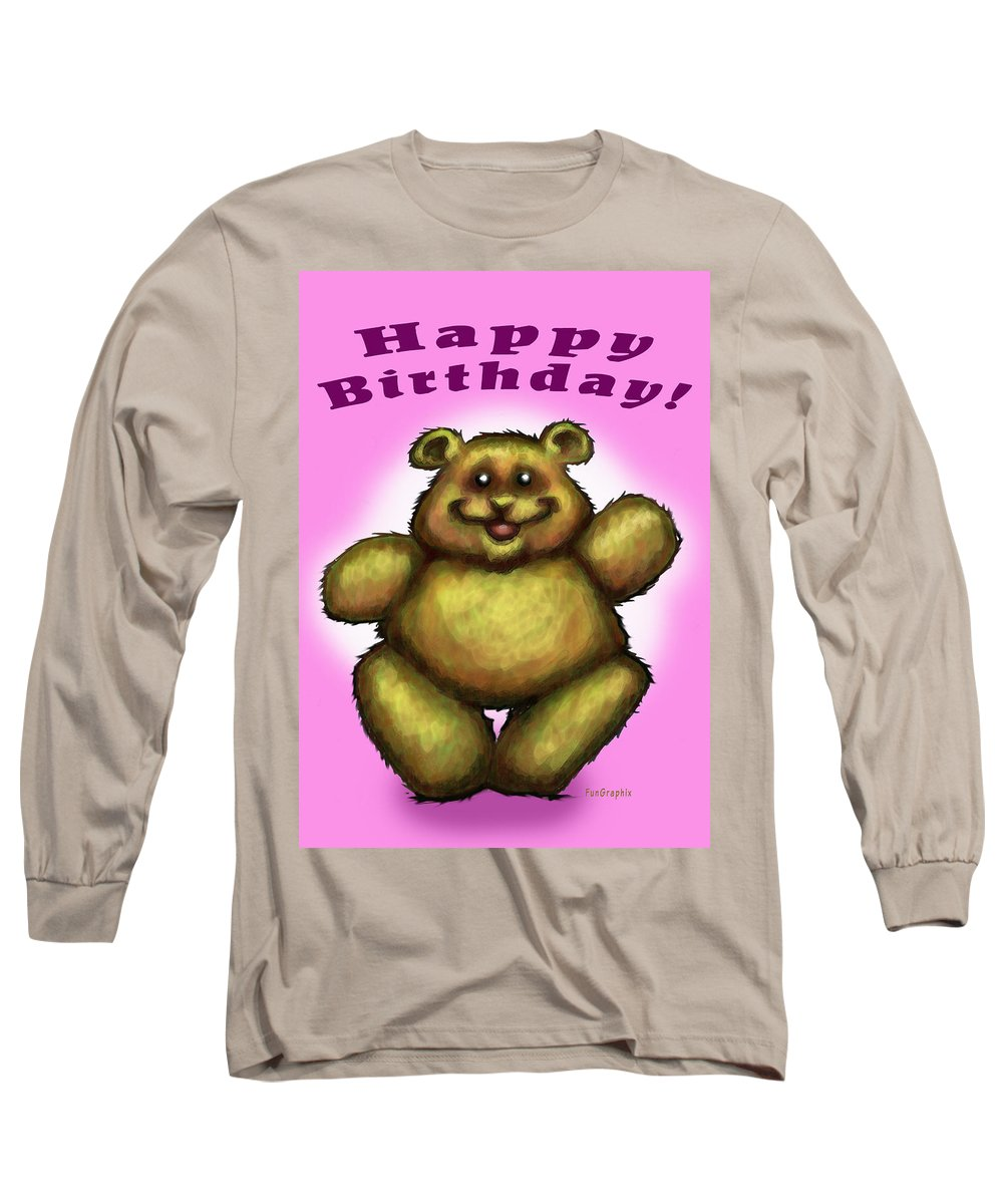 Pink Long Sleeve T-Shirt featuring the greeting card Happy Birthday Bear by Kevin Middleton