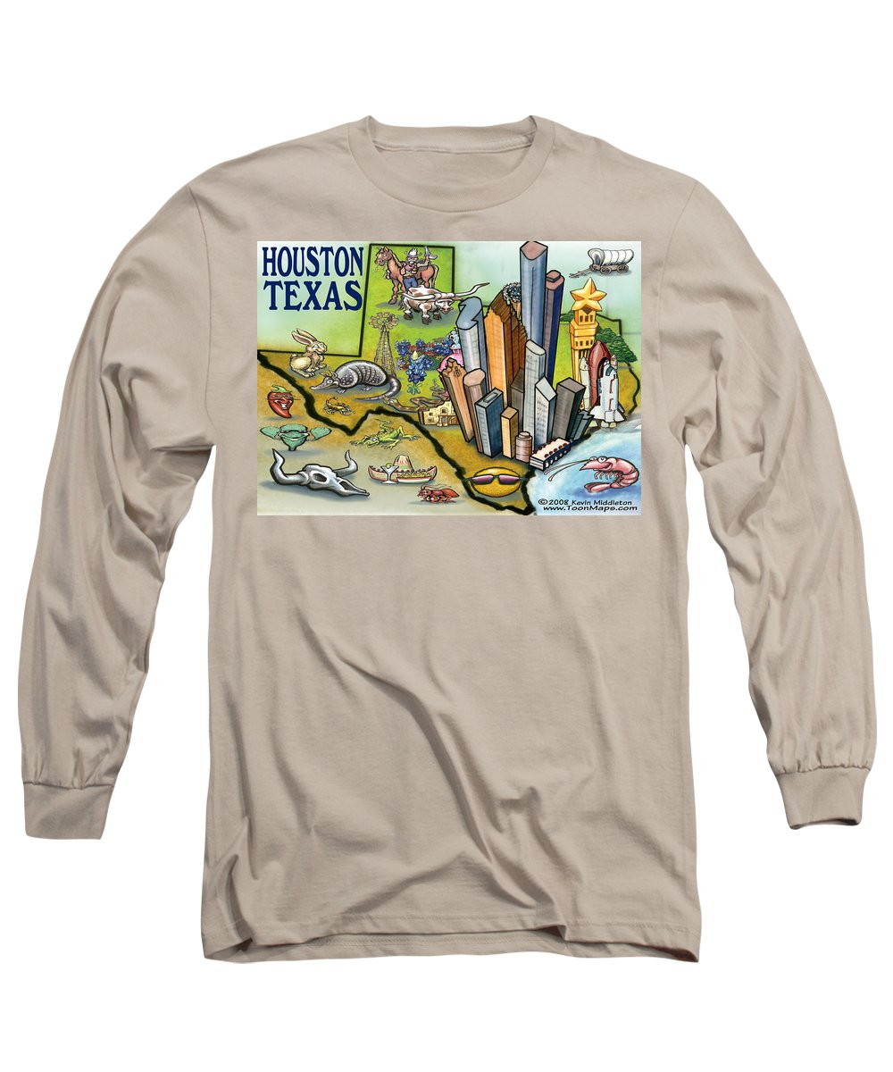 Houston Long Sleeve T-Shirt featuring the digital art Houston Texas Cartoon Map by Kevin Middleton