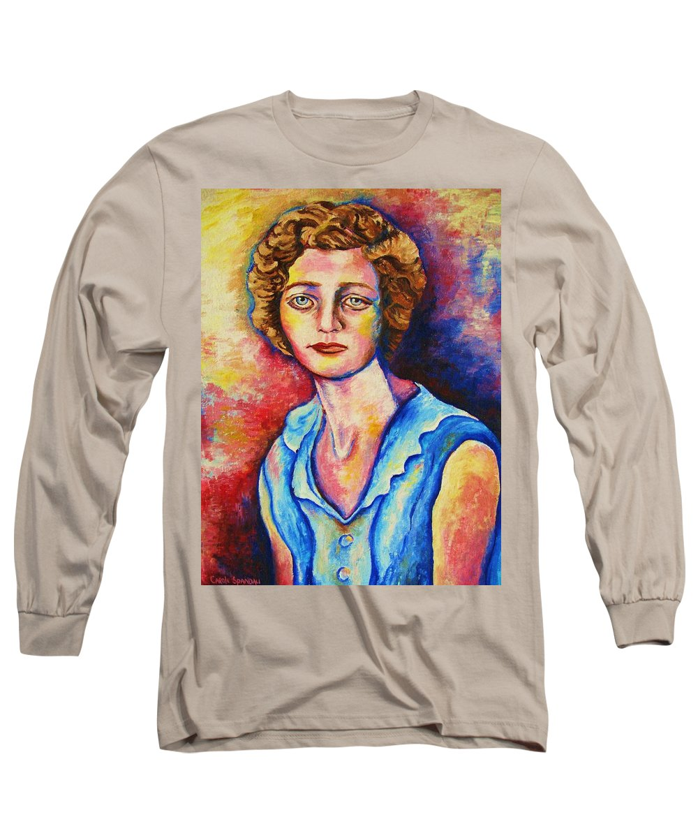 Portraits Long Sleeve T-Shirt featuring the painting Sad Eyes by Carole Spandau