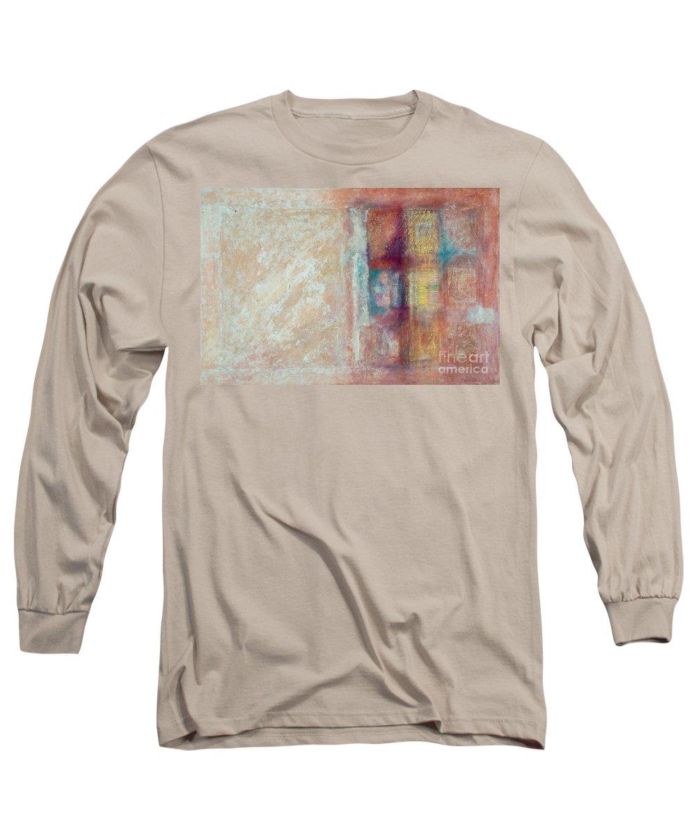 Mixed-media Long Sleeve T-Shirt featuring the painting Spirit Matter Cosmos by Kerryn Madsen-Pietsch