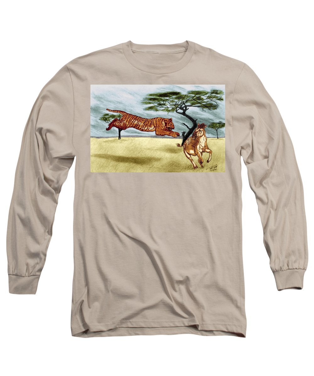 The Lunge Long Sleeve T-Shirt featuring the drawing The Lunge by Peter Piatt