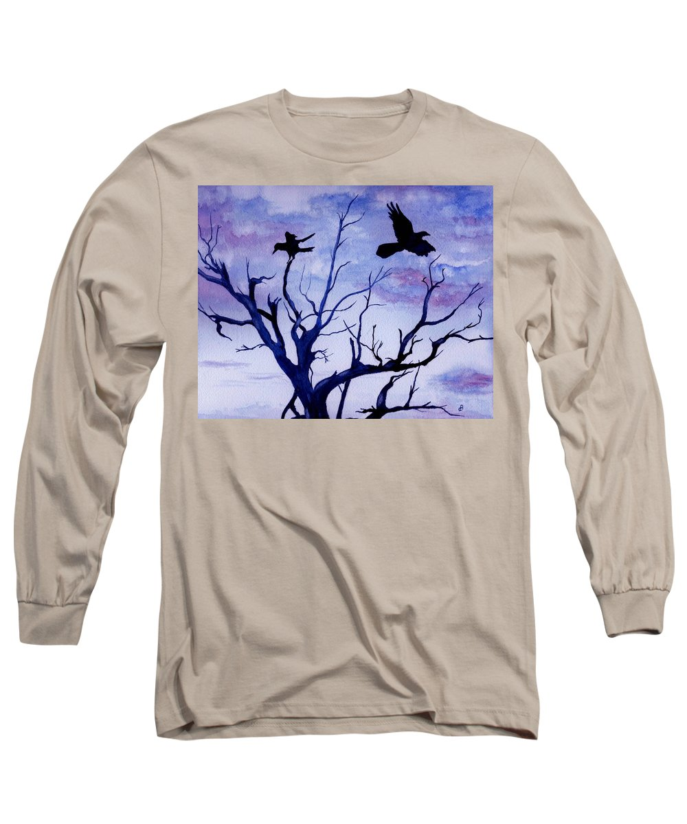 Watercolor Landscape Birds Raven Crow Flight Tree Sunset Sky Blue Clouds Scenic Long Sleeve T-Shirt featuring the painting Twilight Flight by Brenda Owen