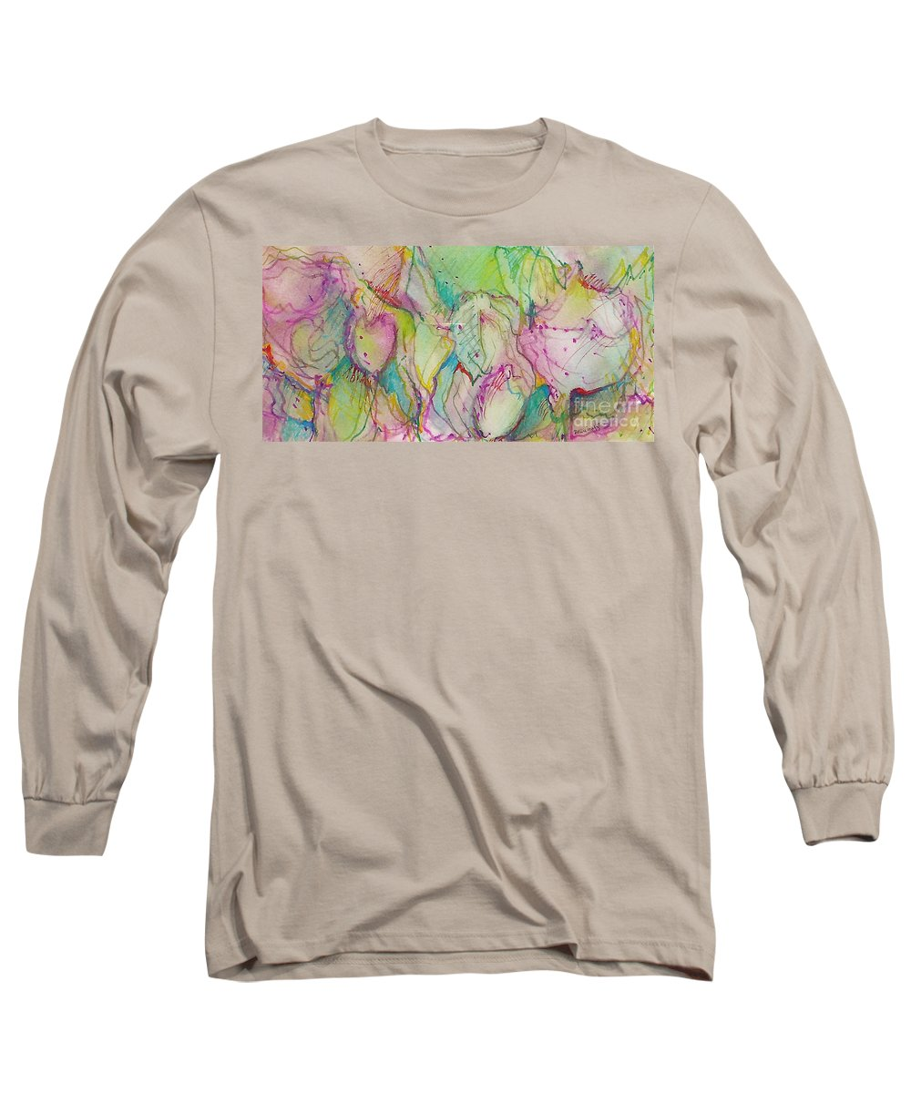 Abstract Long Sleeve T-Shirt featuring the painting Two Lips by Jan Bennicoff