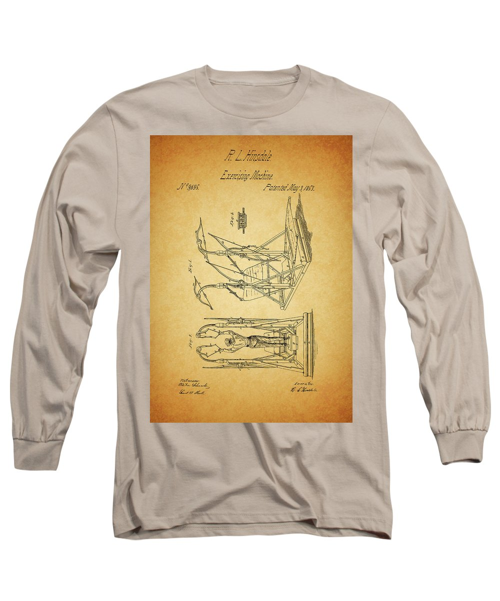 1853 Exercising Machine Patent Long Sleeve T-Shirt featuring the mixed media 1853 Exercising Machine Patent by Dan Sproul