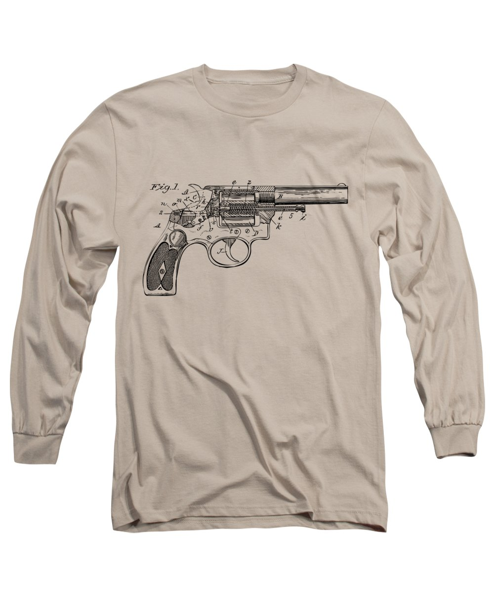 Wesson Long Sleeve T-Shirt featuring the digital art 1896 Wesson Safety Device Revolver Patent Minimal - Vintage by Nikki Marie Smith