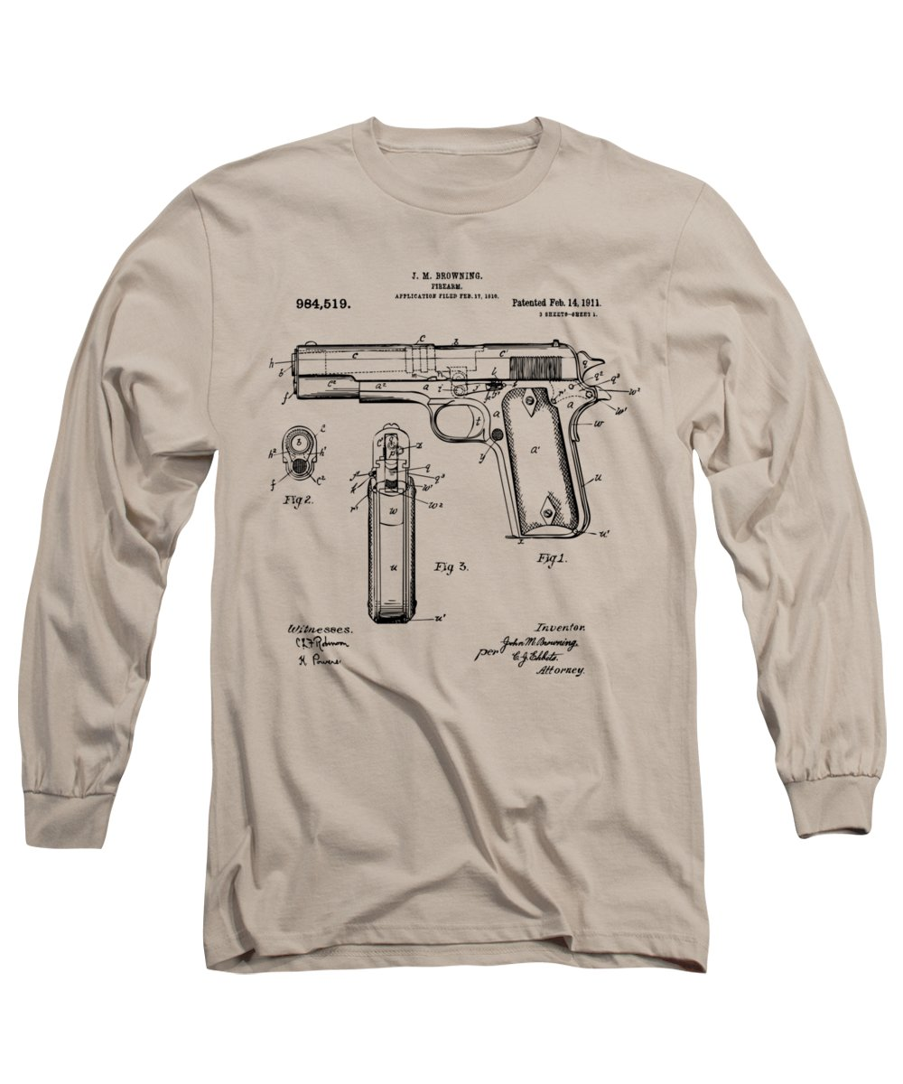 Colt 45 Long Sleeve T-Shirt featuring the digital art 1911 Colt 45 Browning Firearm Patent Artwork Vintage by Nikki Marie Smith