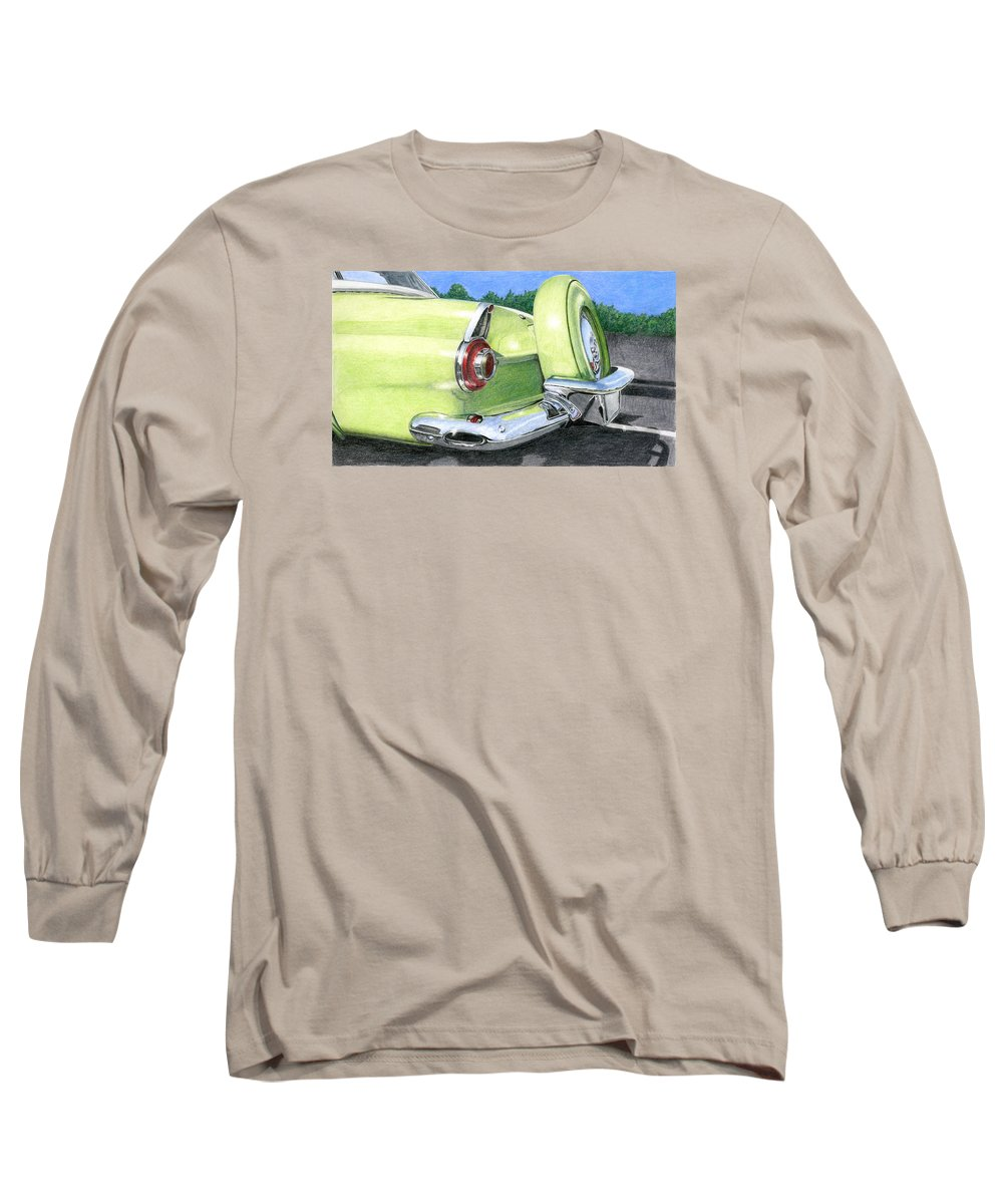 Classic Long Sleeve T-Shirt featuring the drawing 1956 Ford Thunderbird by Rob De Vries