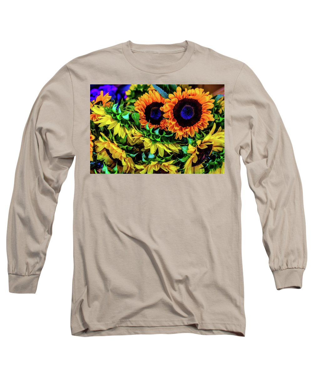 Mood Long Sleeve T-Shirt featuring the photograph Artistic Sunflowers by Garry Gay