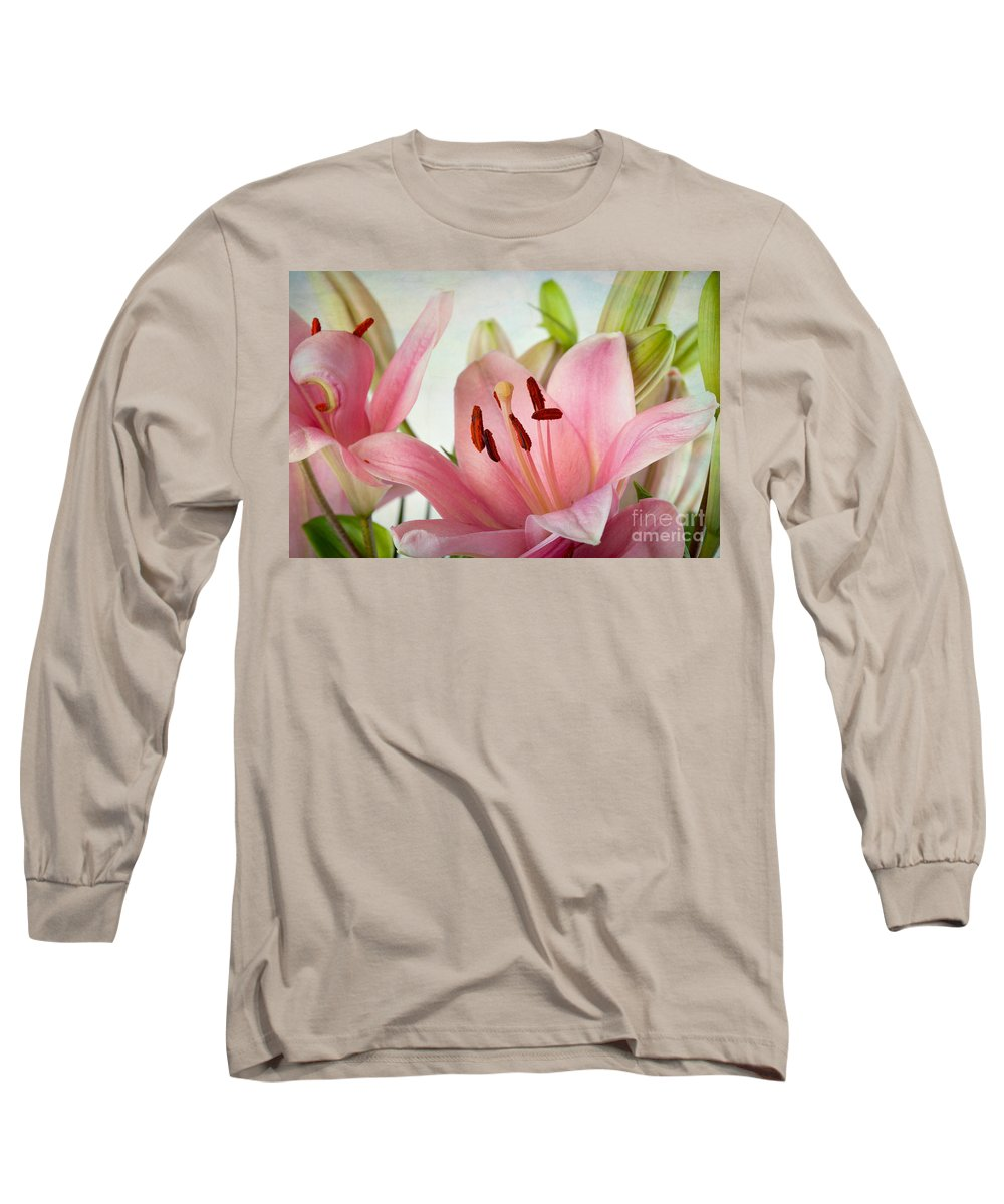Lily Long Sleeve T-Shirt featuring the photograph Pink Lilies by Nailia Schwarz