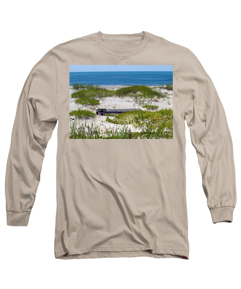 Florida; Beach; Ocean; Waves; Wave; Surf; Sand; Sandy; Coast; Shore; Atlantic; Cape; Canaveral; Scen Long Sleeve T-Shirt featuring the photograph Cape Canaveral Florida by Allan Hughes