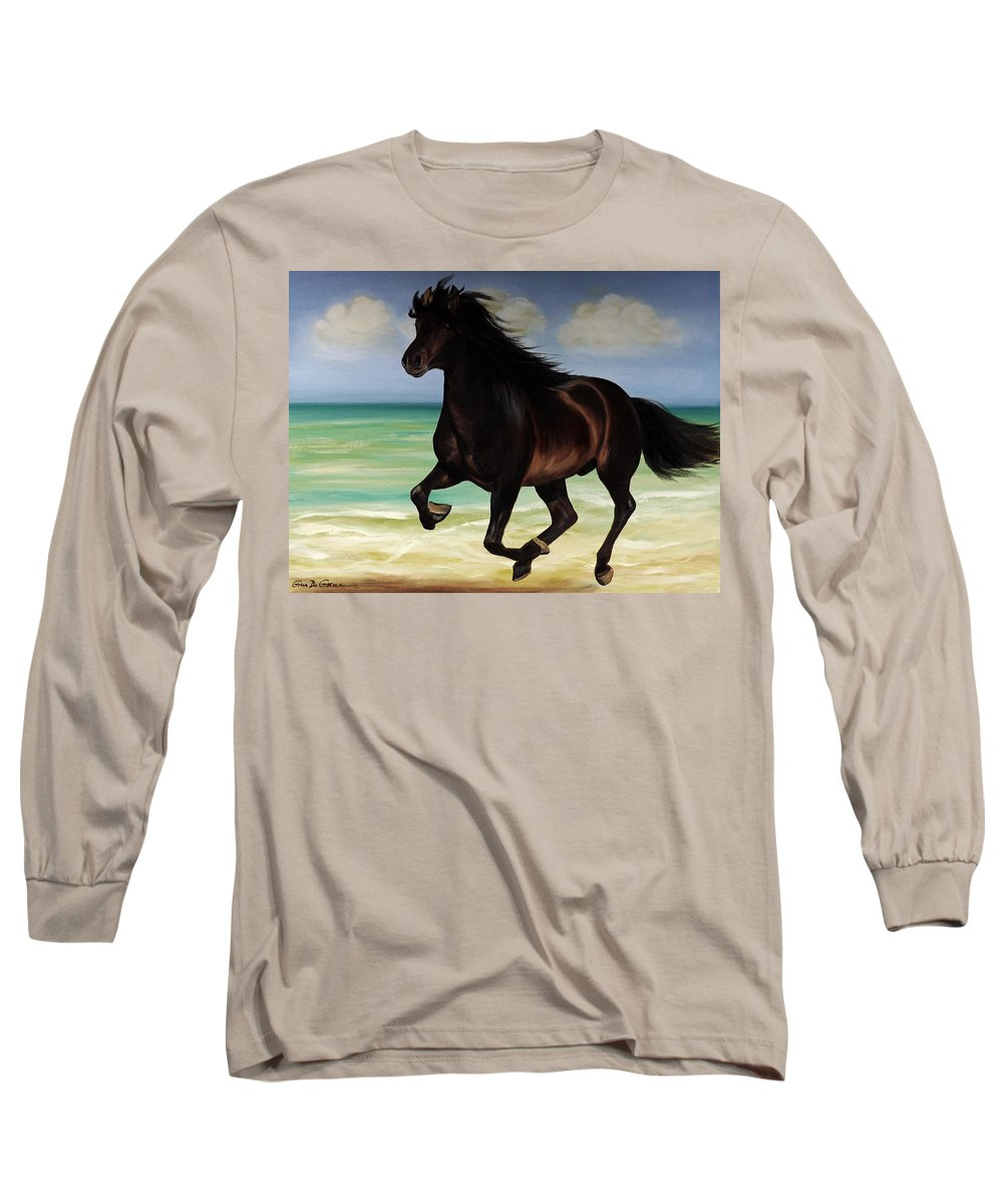 Horse Long Sleeve T-Shirt featuring the painting Horses In Paradise Run by Gina De Gorna