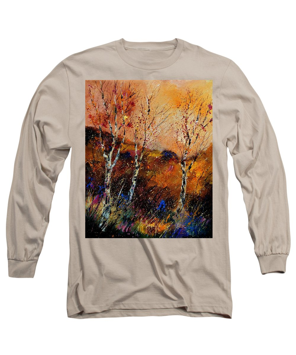 River Long Sleeve T-Shirt featuring the painting 3 Poplars by Pol Ledent