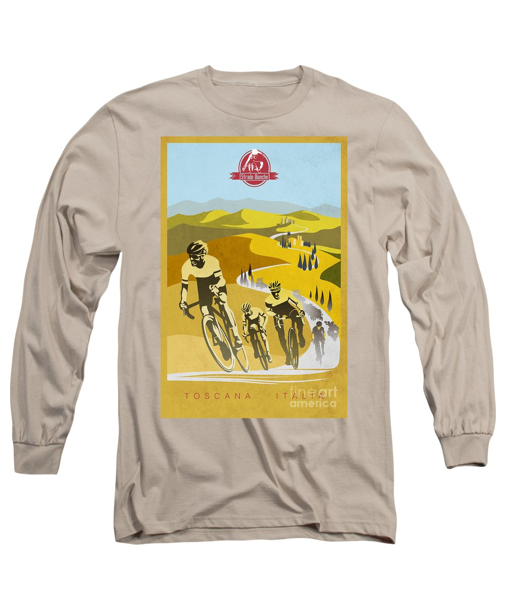 Vintage Cycling Long Sleeve T-Shirt featuring the painting Print by Sassan Filsoof