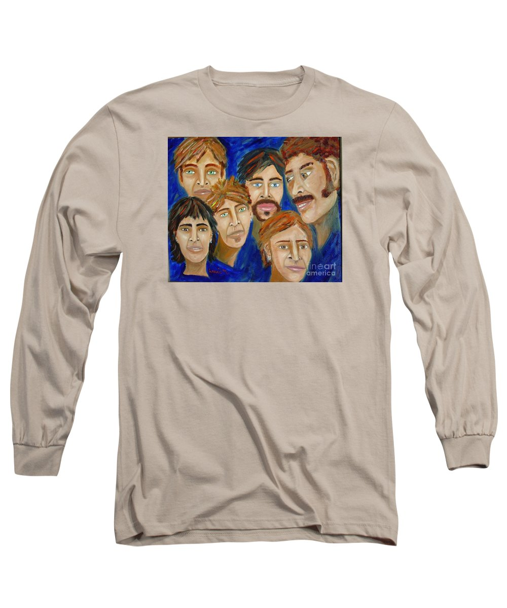 Portrait Long Sleeve T-Shirt featuring the painting 70s Band Reunion by Laurie Morgan