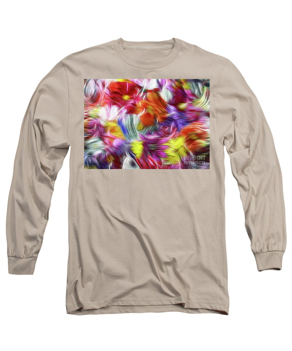 Abstract Long Sleeve T-Shirt featuring the painting 9a Abstract Expressionism Digital Painting by Ricardos Creations