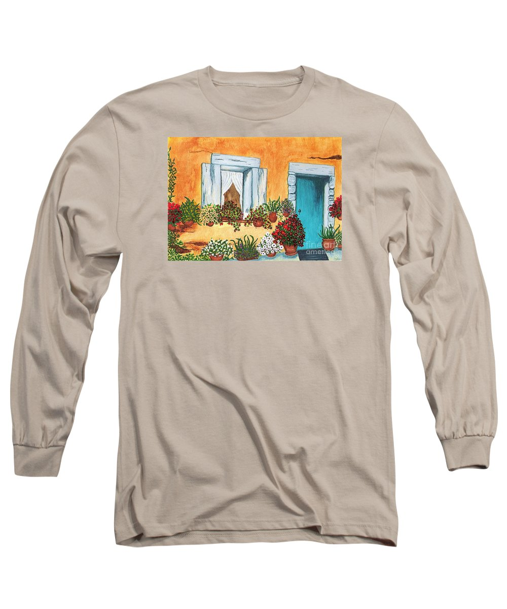 Watercolor Painting Long Sleeve T-Shirt featuring the painting A Cottage In The Village by Patricia Griffin Brett