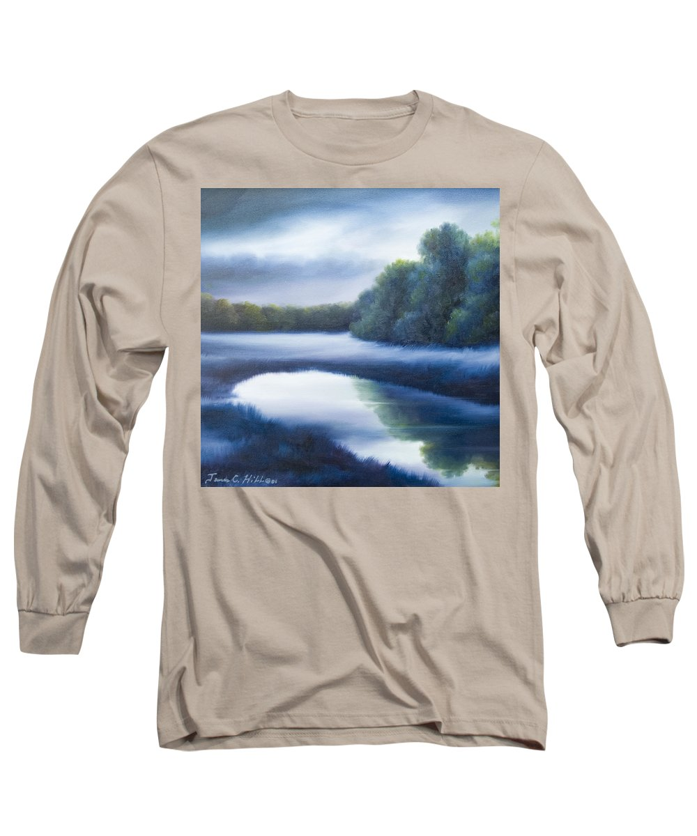 Nature; Lake; Sunset; Sunrise; Serene; Forest; Trees; Water; Ripples; Clearing; Lagoon; James Christopher Hill; Jameshillgallery.com; Foliage; Sky; Realism; Oils; Green; Tree; Blue; Pink; Pond; Lake Long Sleeve T-Shirt featuring the painting A Day In The Life 4 by James Christopher Hill