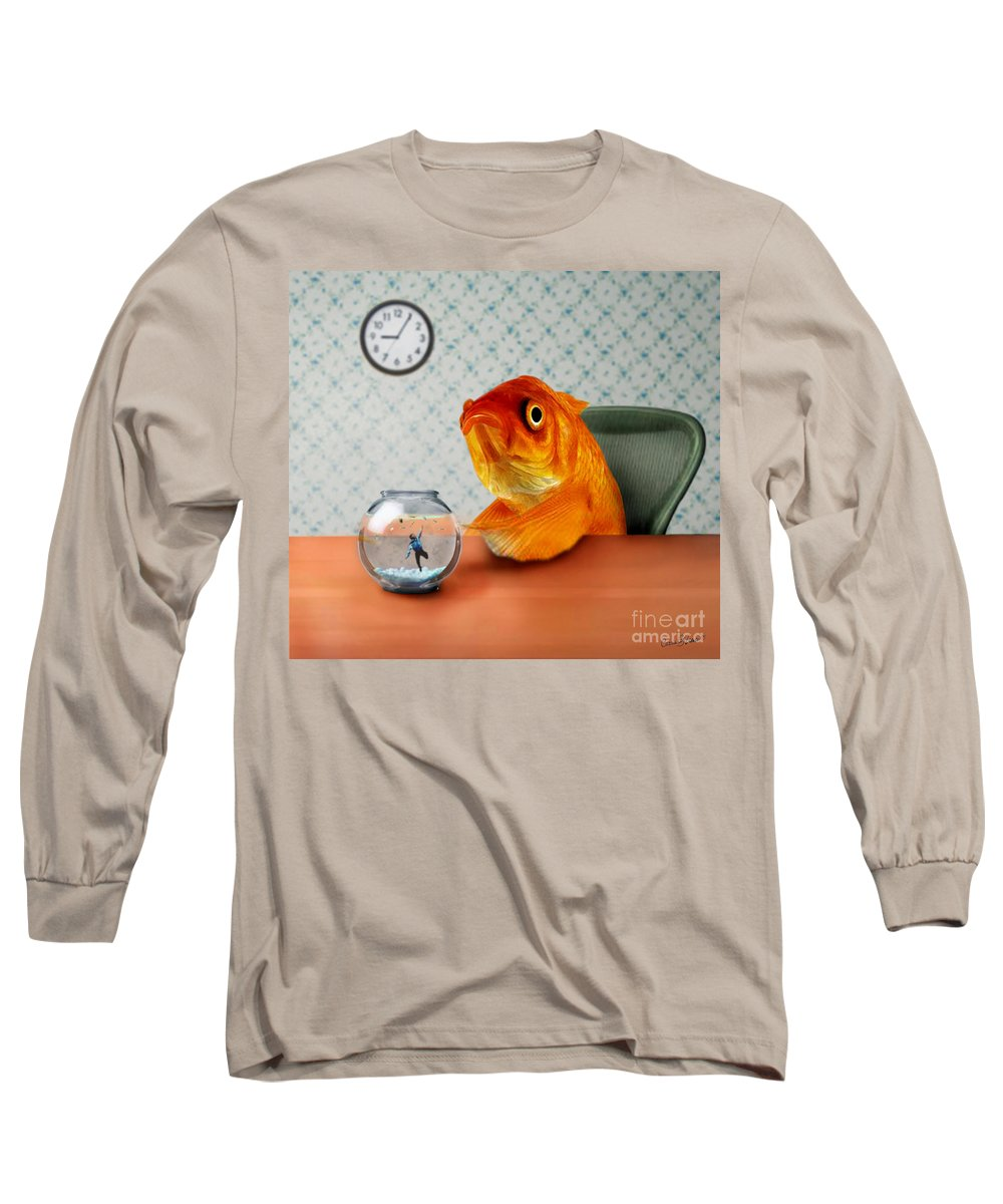A Fish Out Of Water Long Sleeve T-Shirt featuring the mixed media A Fish Out Of Water by Carrie Jackson
