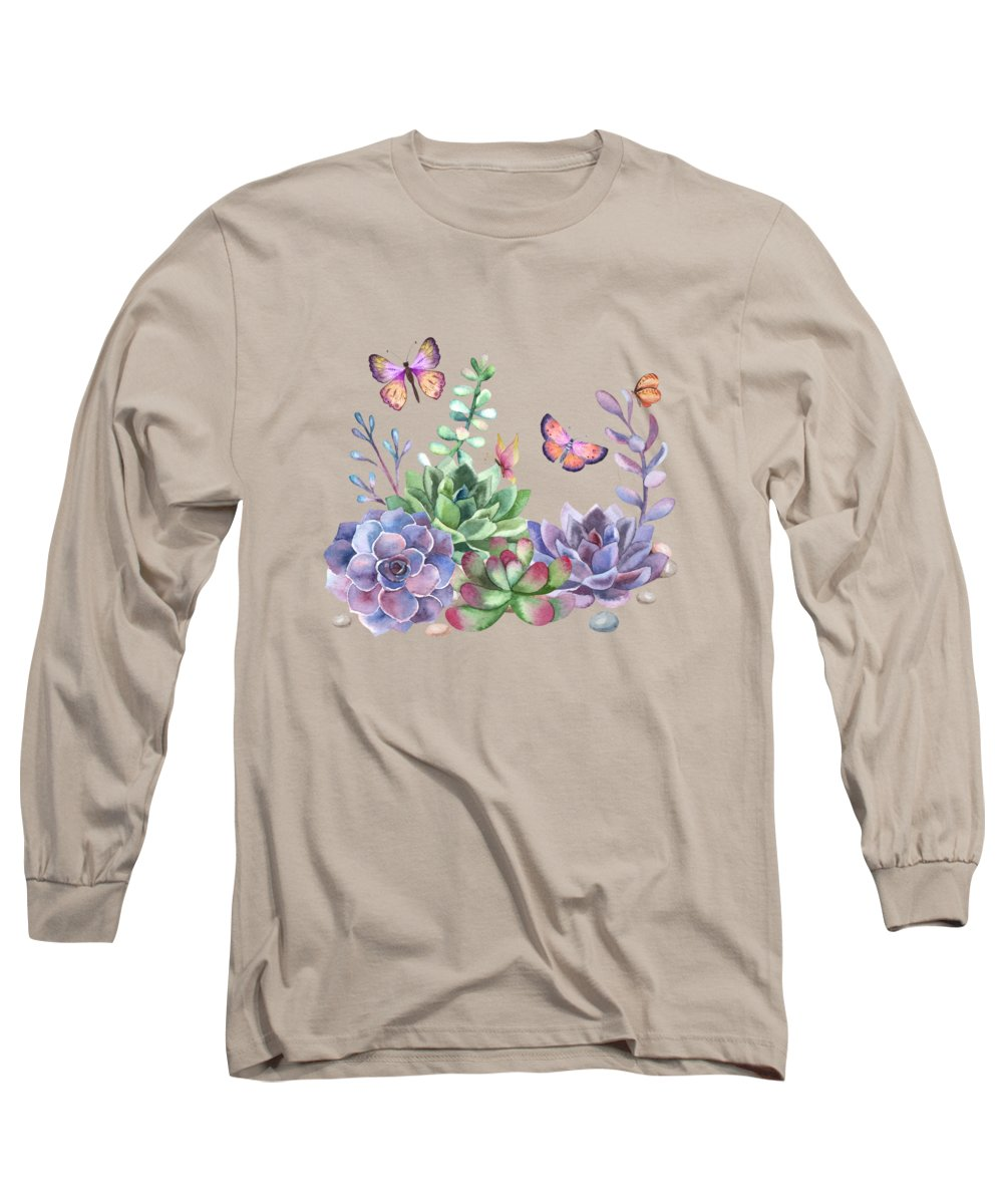Watercolor Long Sleeve T-Shirt featuring the painting A Splendid Secret Succulent Garden With Butterfly Visitors by Little Bunny Sunshine