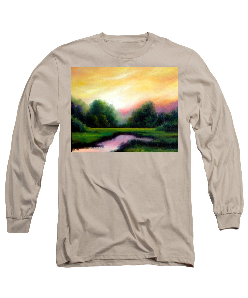 Clouds Long Sleeve T-Shirt featuring the painting A Spring Evening by James Christopher Hill