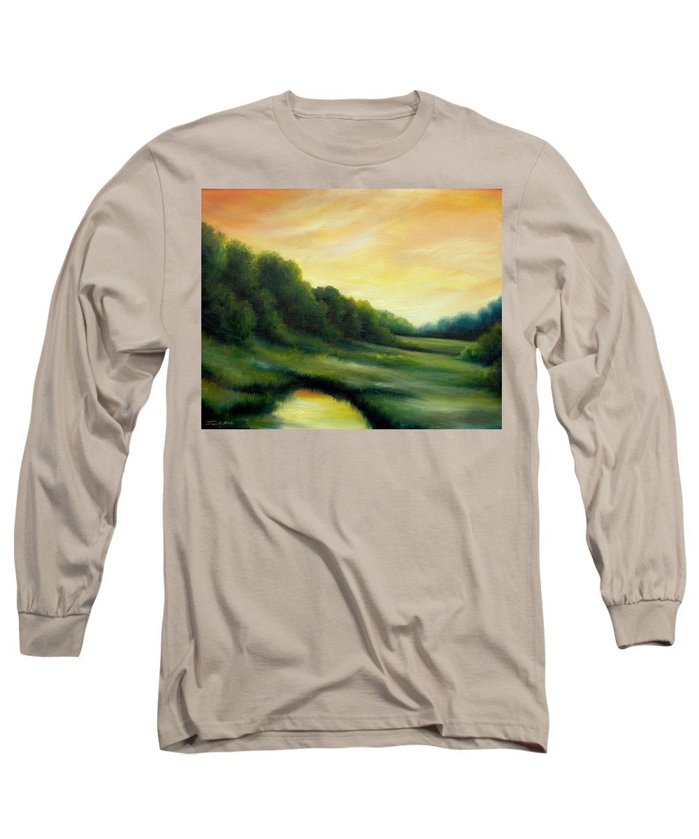 Clouds Long Sleeve T-Shirt featuring the painting A Spring Evening Part Two by James Christopher Hill