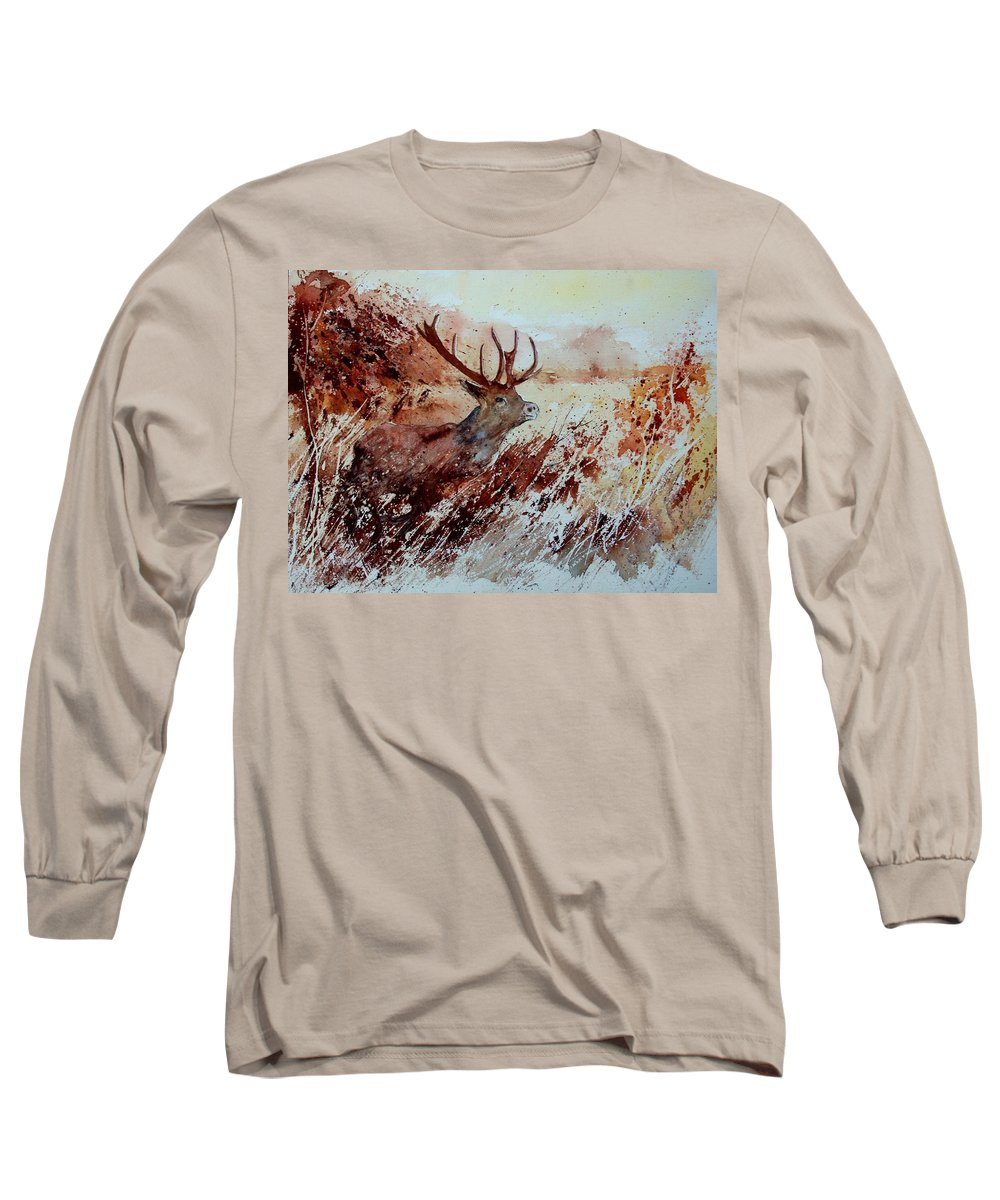Animal Long Sleeve T-Shirt featuring the painting A Stag by Pol Ledent
