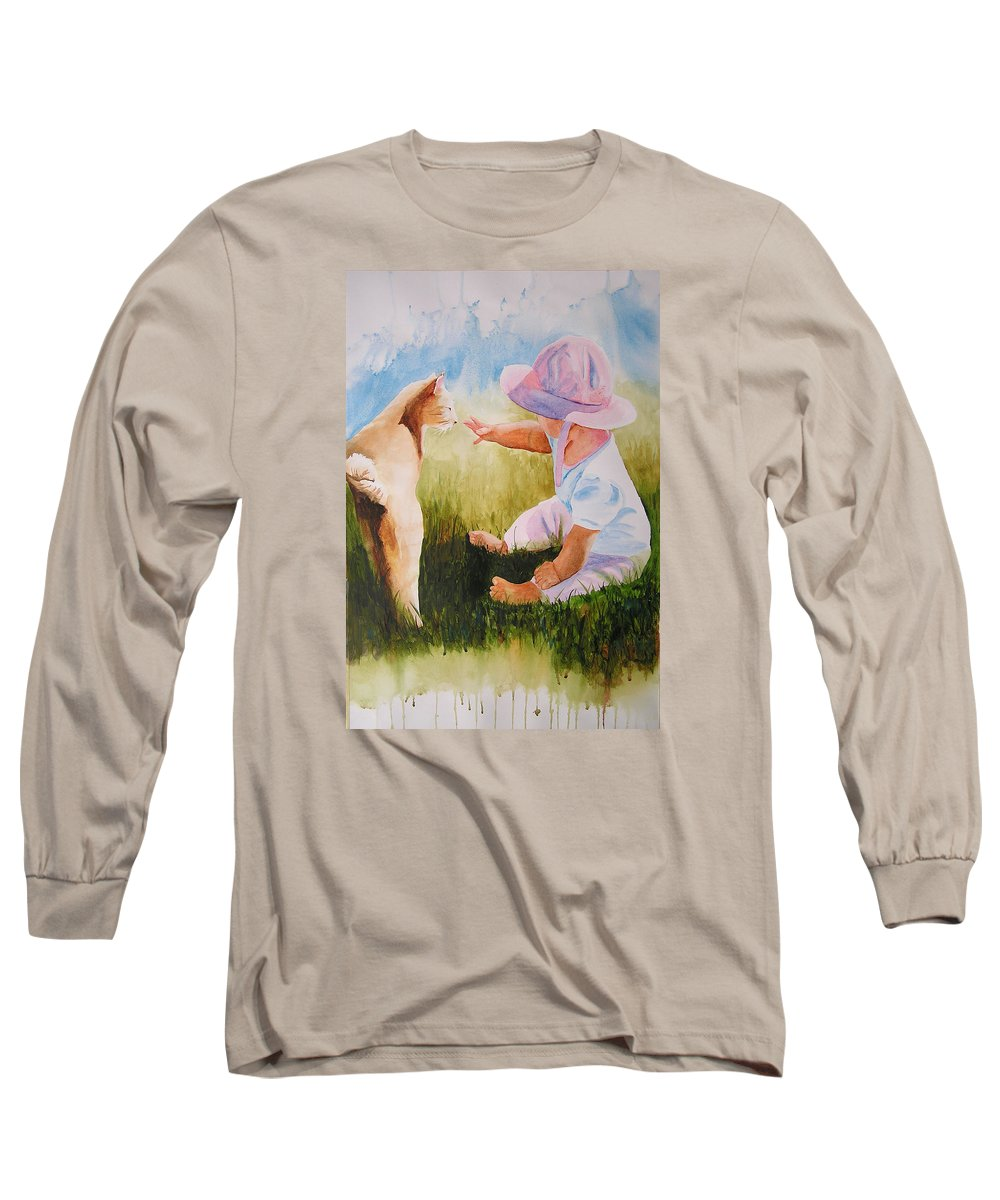Baby Long Sleeve T-Shirt featuring the painting Abbie's Kitty by Karen Stark