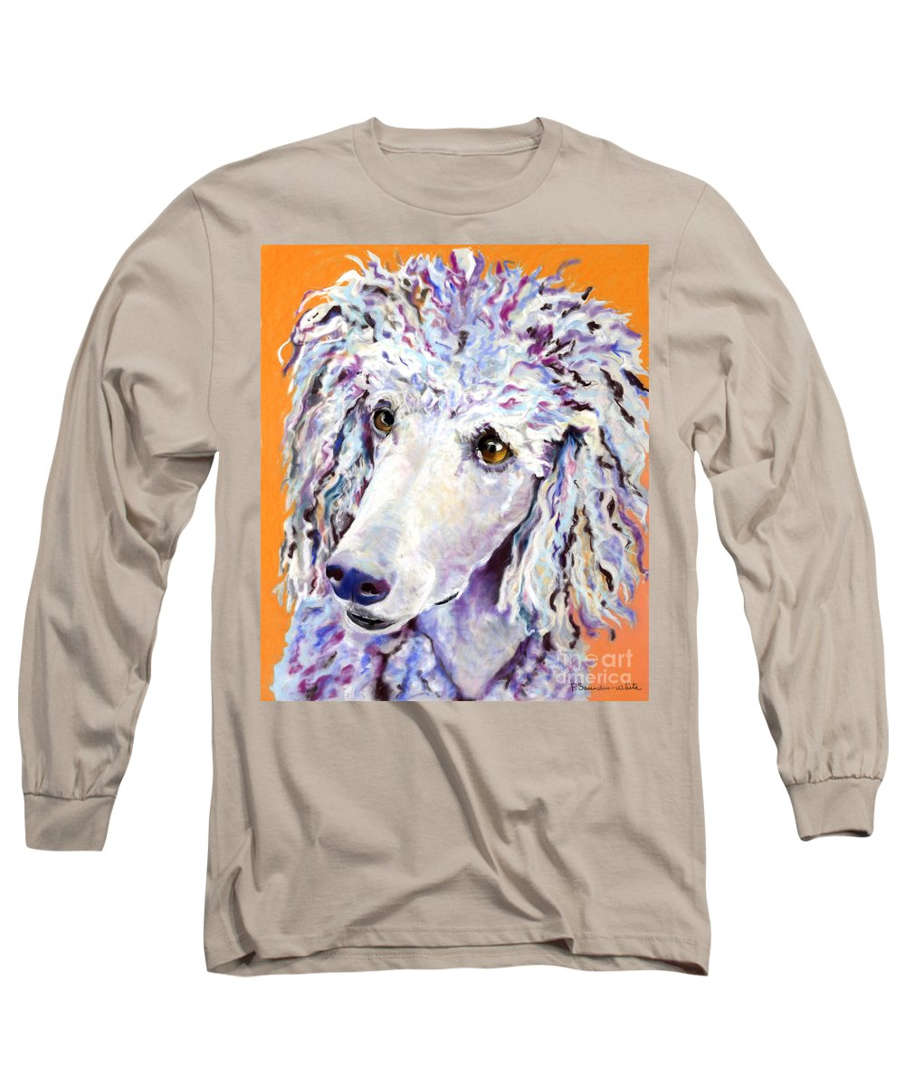Standard Poodle Long Sleeve T-Shirt featuring the pastel Above The Standard  by Pat Saunders-White