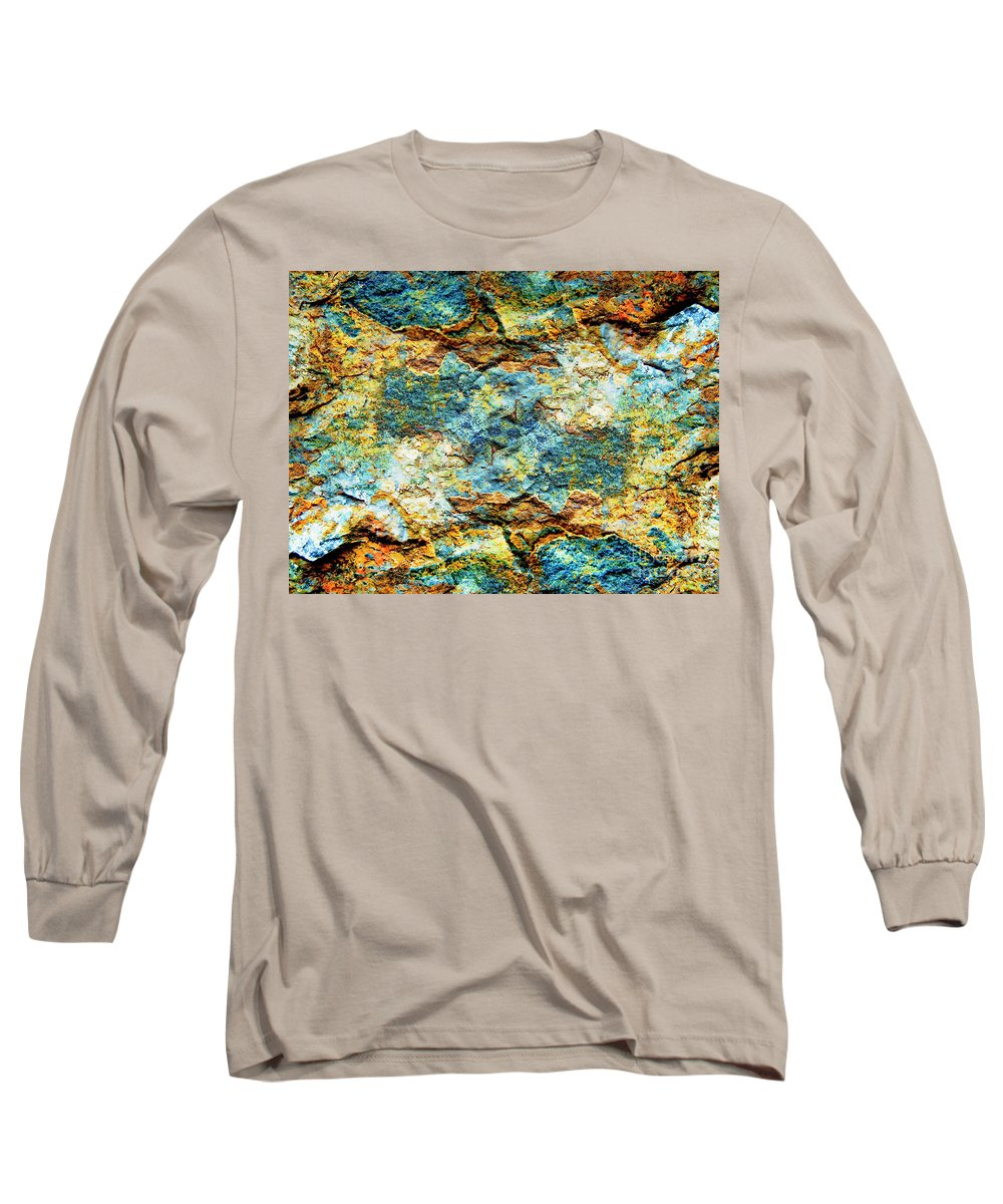 Stone Long Sleeve T-Shirt featuring the photograph Abstract Nature Tropical Beach Rock Blue Yellow And Orange Macro Photo 472 by Ricardos Creations