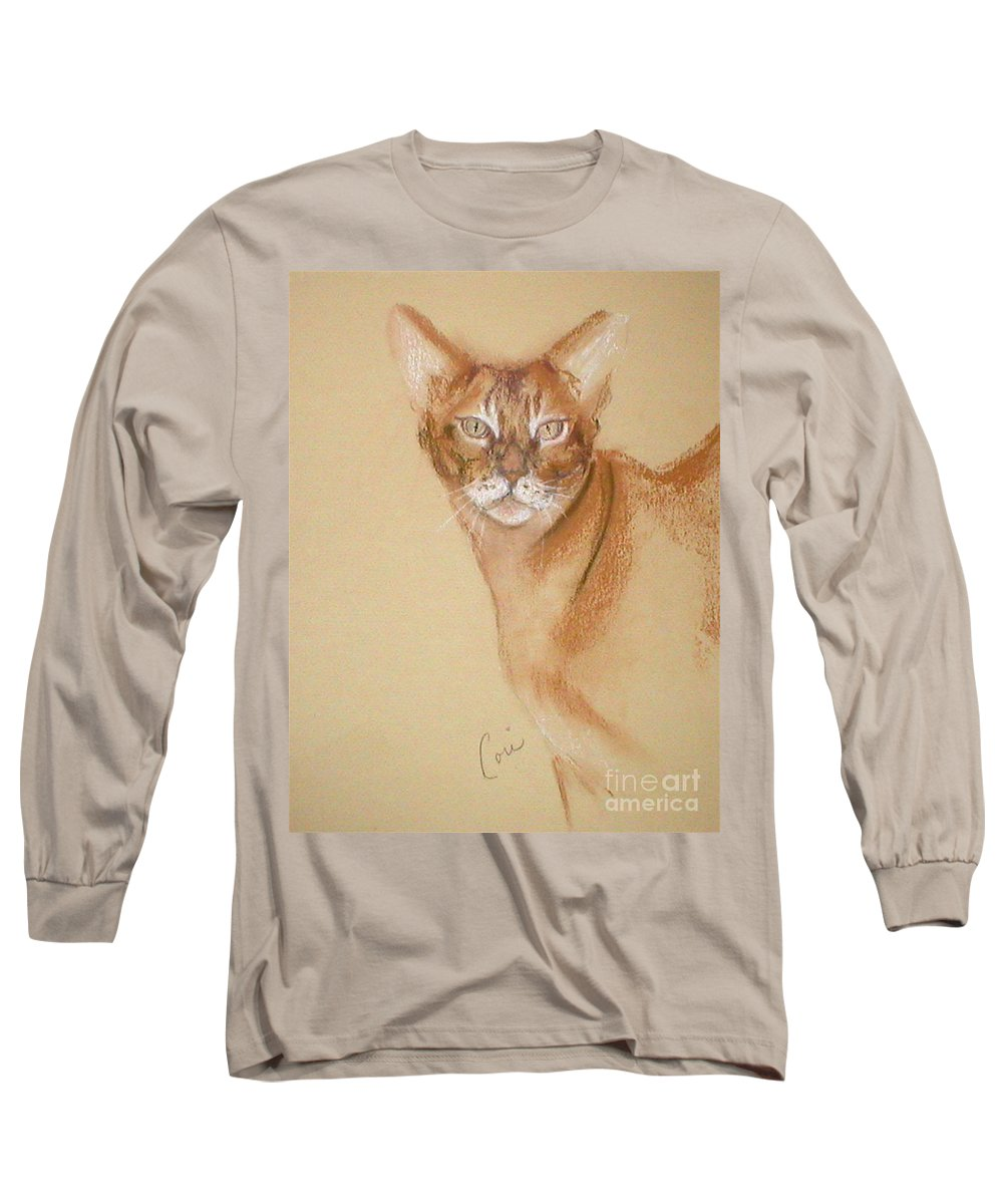 Pastel Long Sleeve T-Shirt featuring the drawing Abyssinian by Cori Solomon