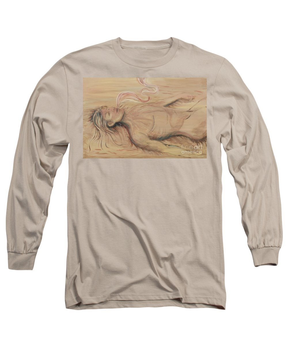 Adam Long Sleeve T-Shirt featuring the painting Adam And The Breath Of God by Nadine Rippelmeyer