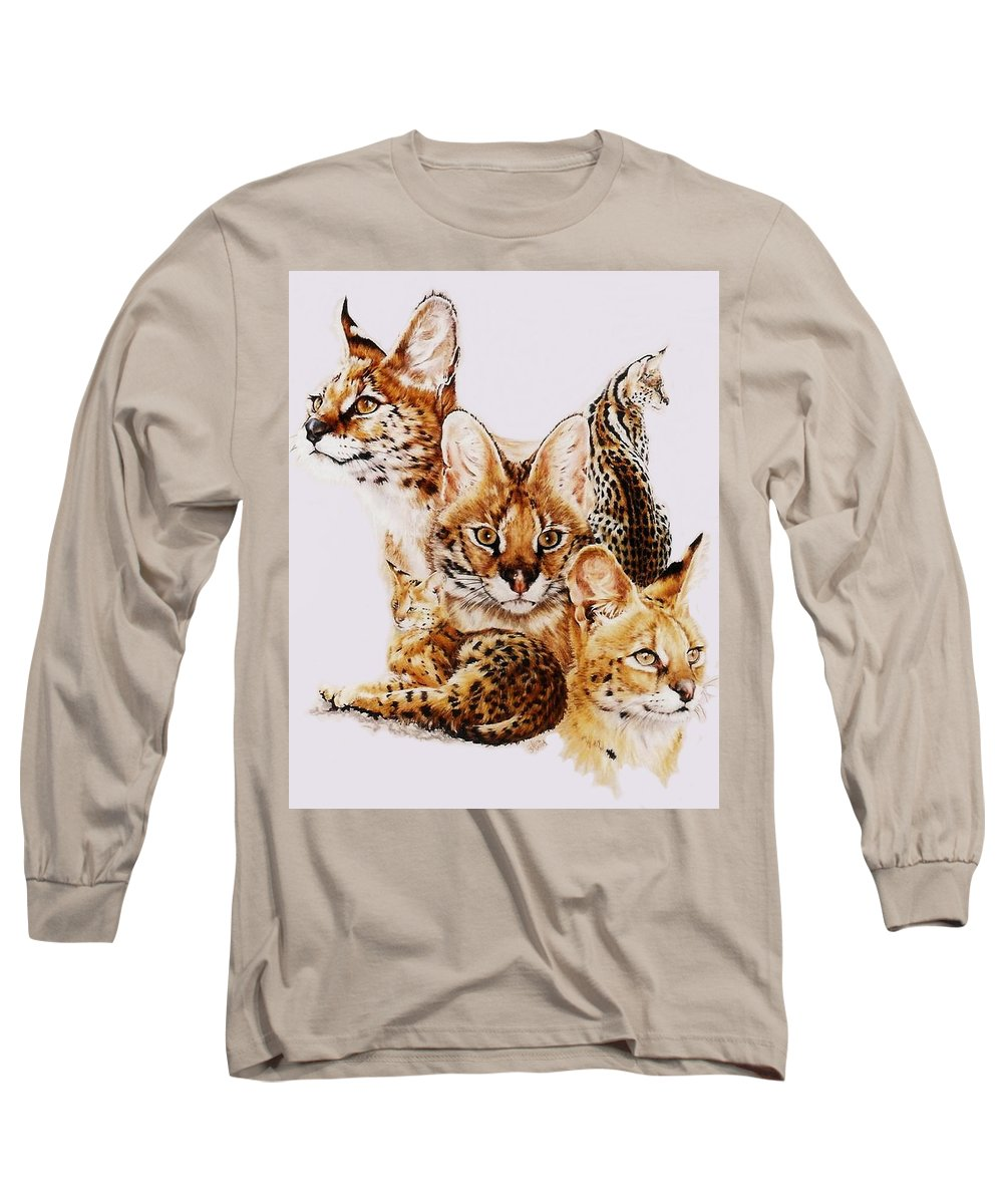 Serval Long Sleeve T-Shirt featuring the drawing Adroit by Barbara Keith