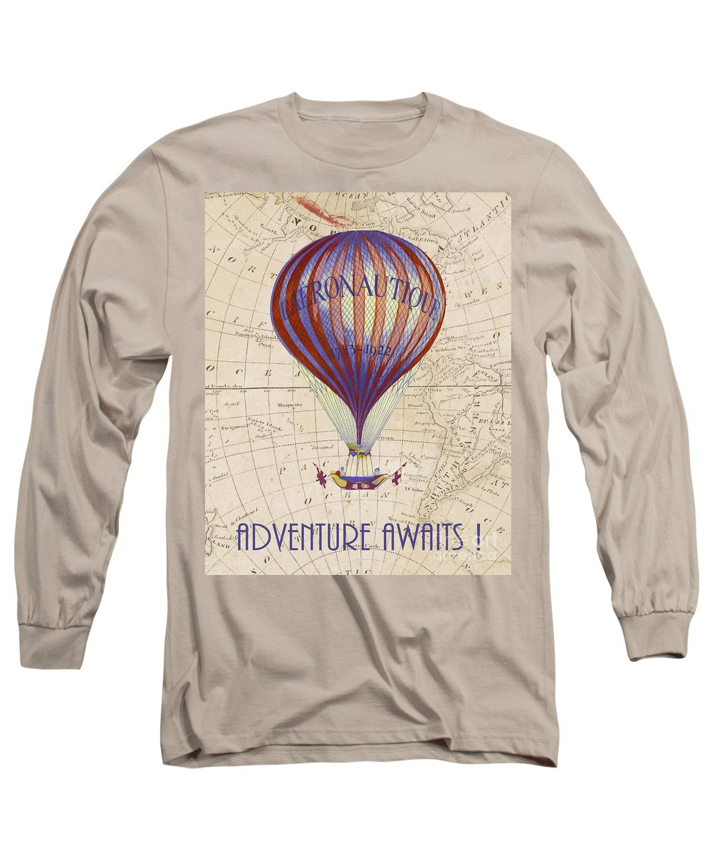 Adventure Awaits Long Sleeve T-Shirt featuring the drawing Adventure Awaits by Delphimages Photo Creations