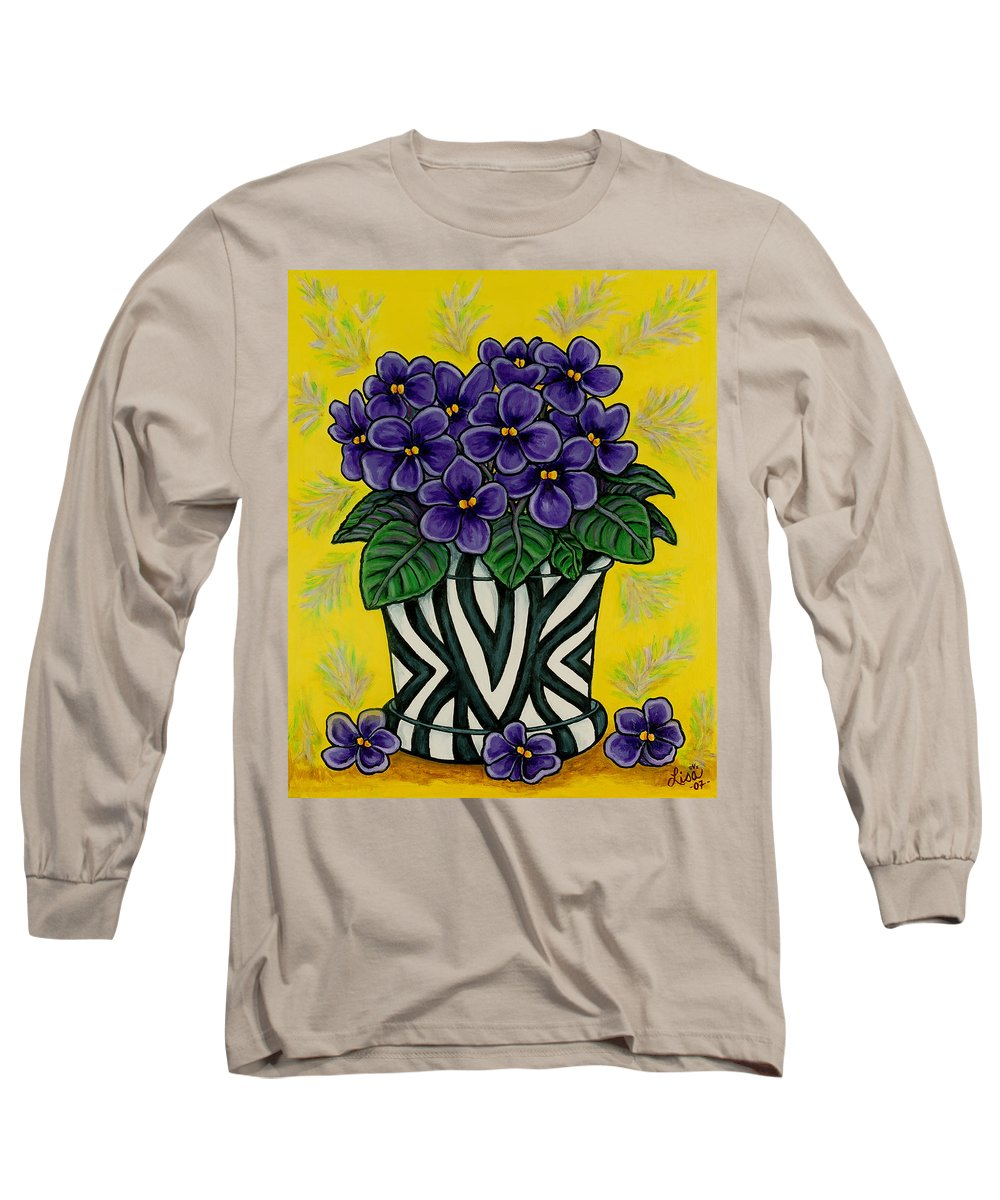 Violets Long Sleeve T-Shirt featuring the painting African Queen by Lisa Lorenz