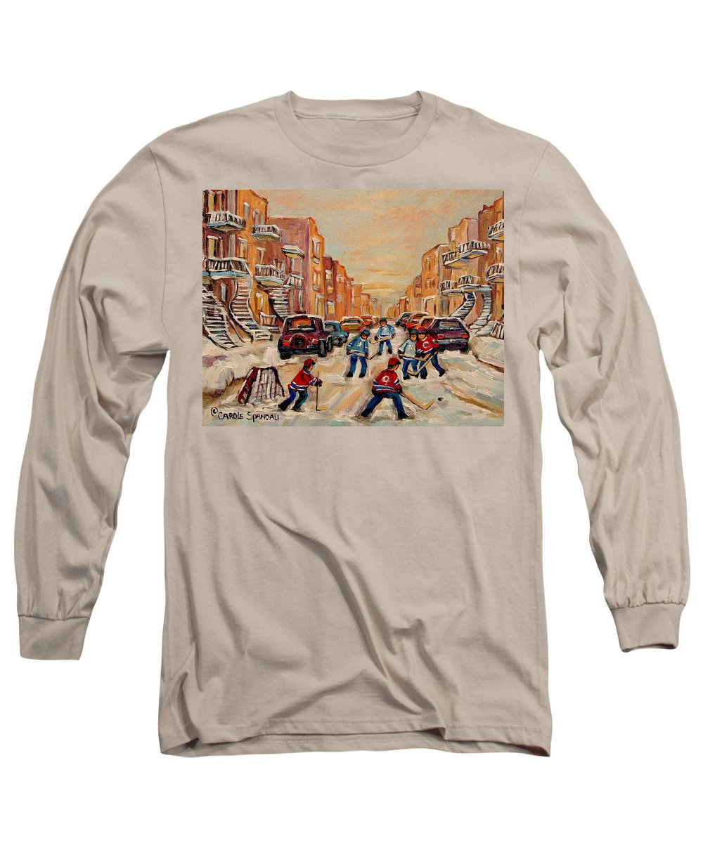After School Hockey Game Long Sleeve T-Shirt featuring the painting After School Hockey Game by Carole Spandau