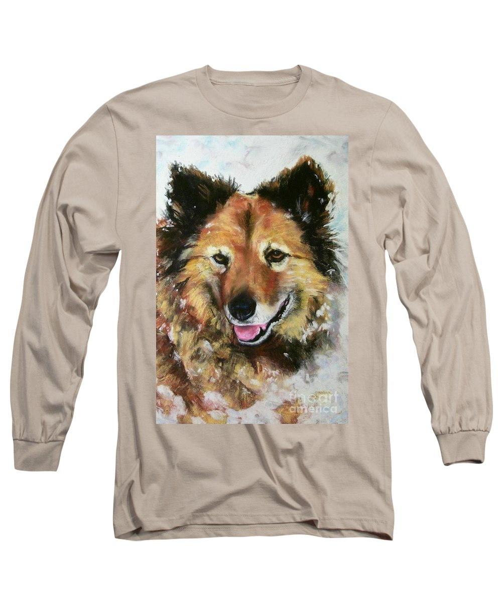 Dog Long Sleeve T-Shirt featuring the painting Akia by Frances Marino