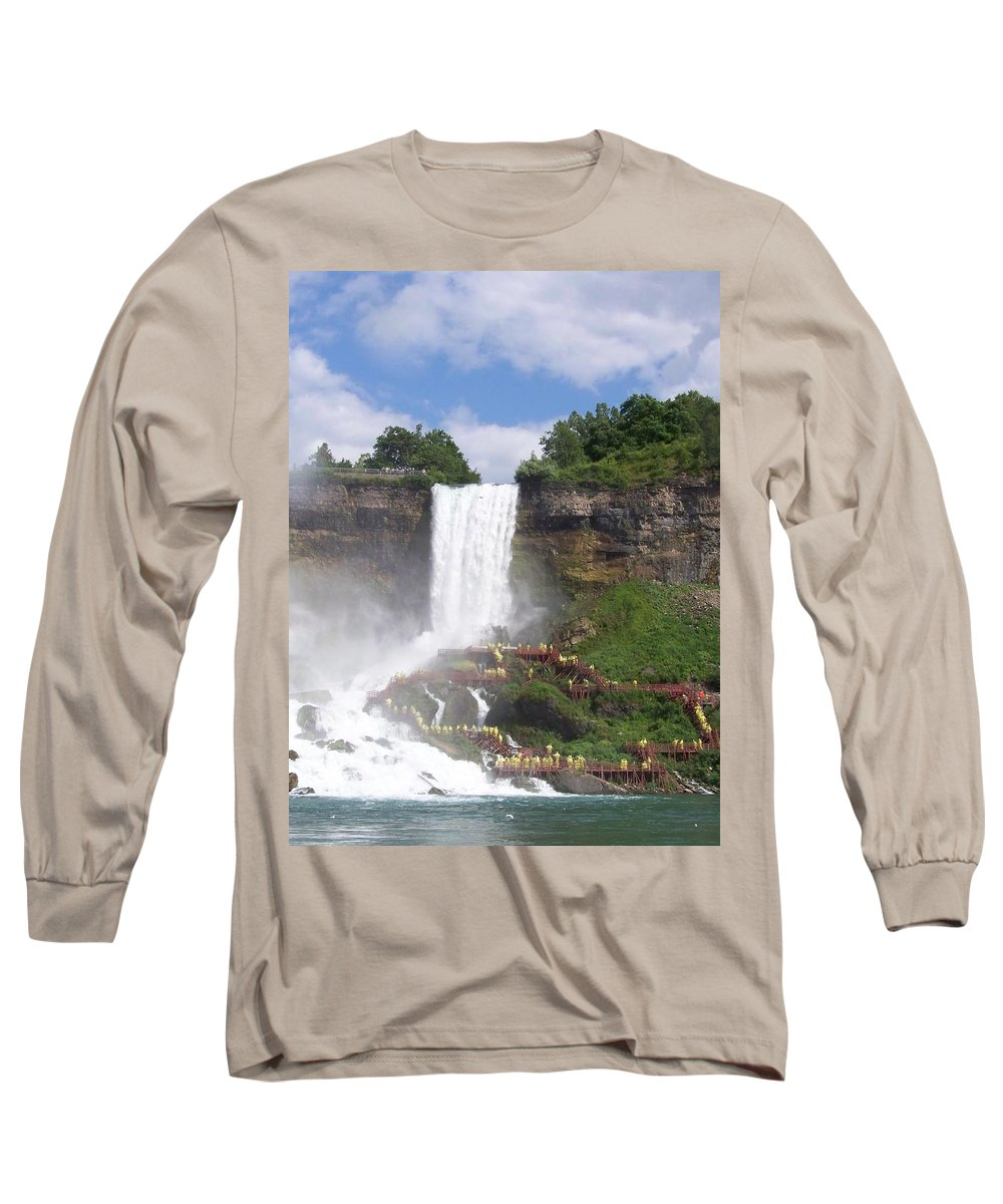 Niagra Falls Long Sleeve T-Shirt featuring the photograph American Falls At Niagra by Laurie Paci