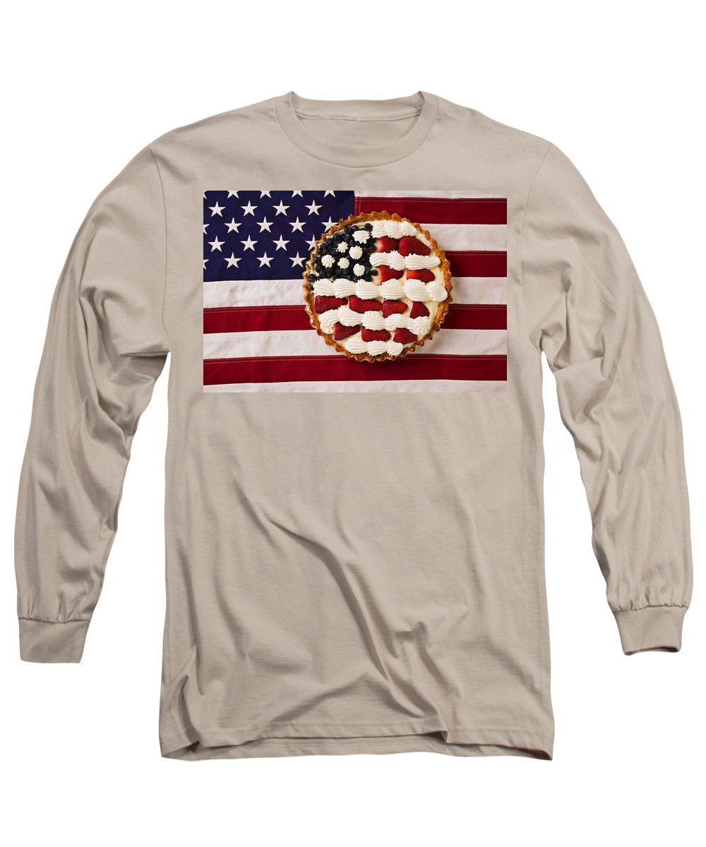 Pie American Flag Strawberries Long Sleeve T-Shirt featuring the photograph American Pie On American Flag by Garry Gay