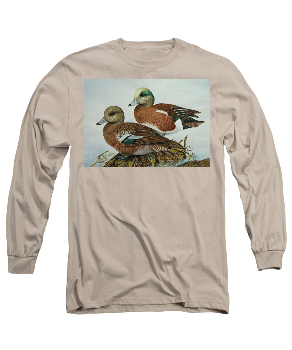 Ducks Long Sleeve T-Shirt featuring the painting American Widgeons by Elaine Booth-Kallweit
