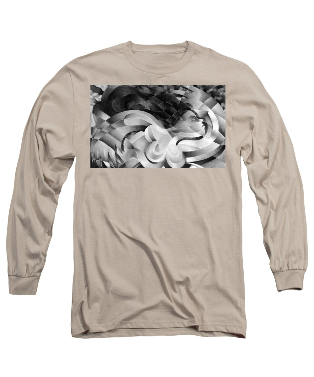 Art Long Sleeve T-Shirt featuring the drawing Amore by Myron Belfast
