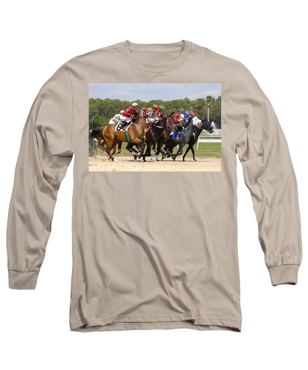Horse Racing Long Sleeve T-Shirt featuring the photograph And Their Off by David Lee Thompson