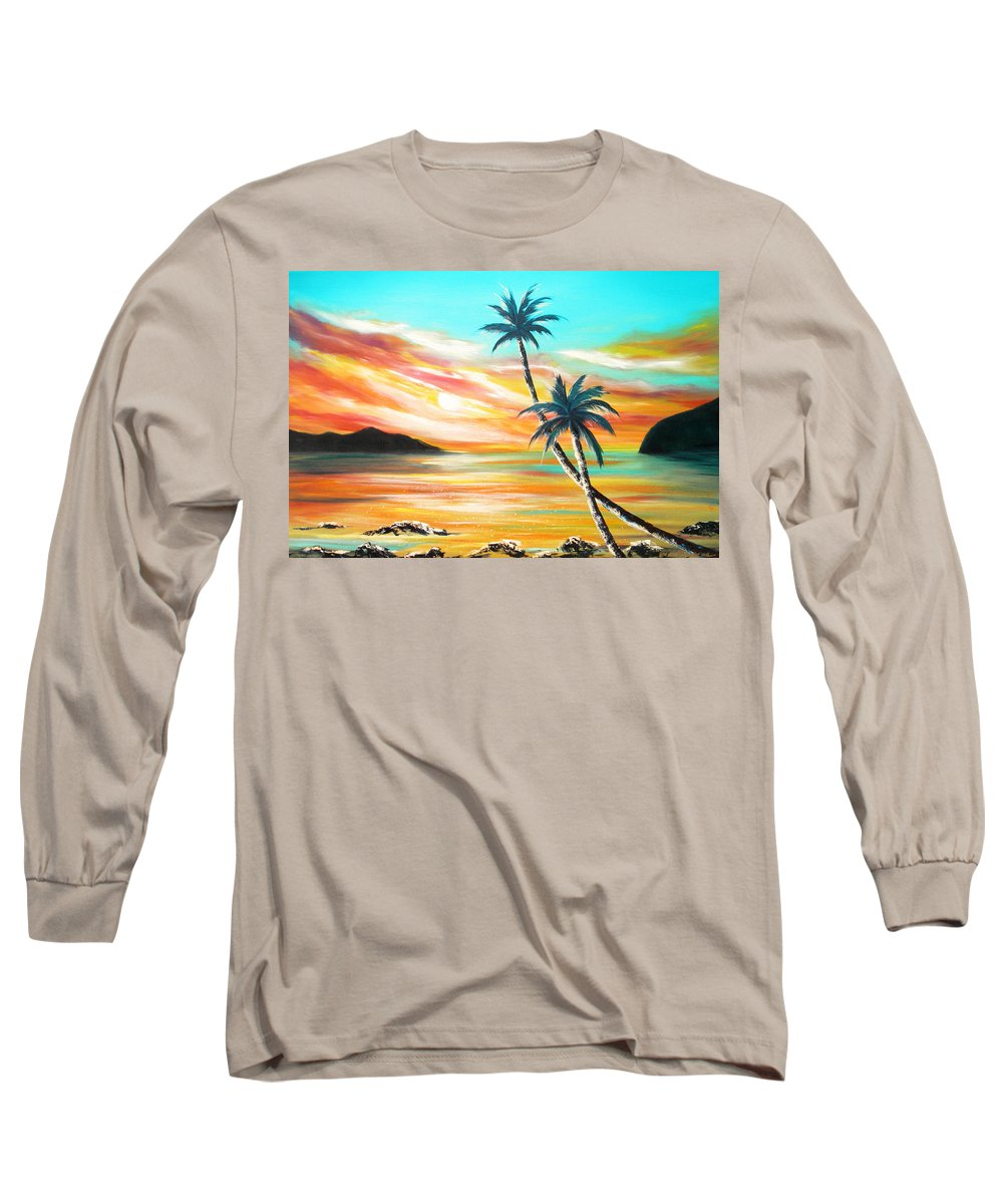 Sunset Long Sleeve T-Shirt featuring the painting Another Sunset In Paradise by Gina De Gorna