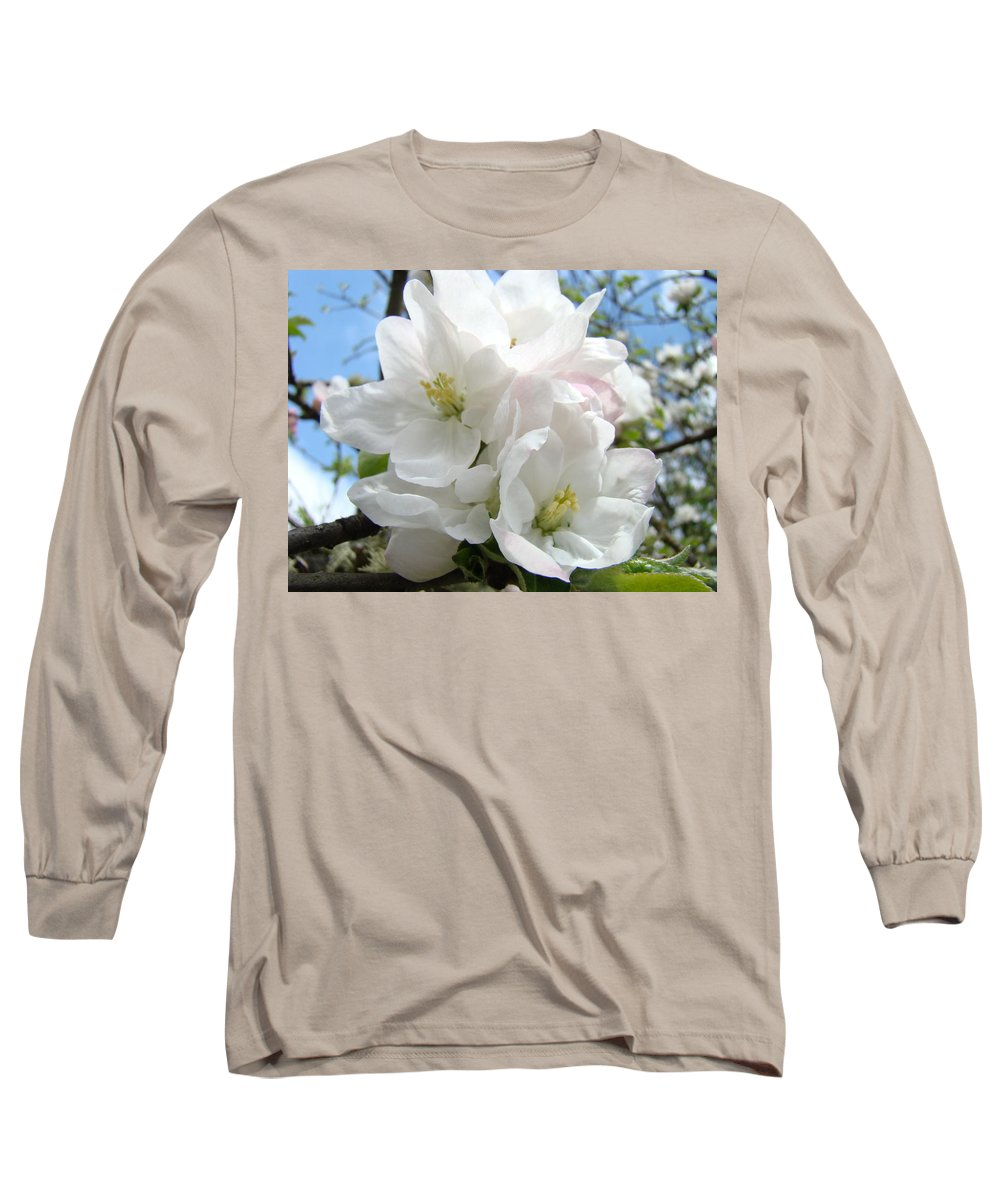 �blossoms Artwork� Long Sleeve T-Shirt featuring the photograph Apple Blossoms Art Prints Giclee 48 Spring Apple Tree Blossoms Blue Sky Macro Flowers by Baslee Troutman